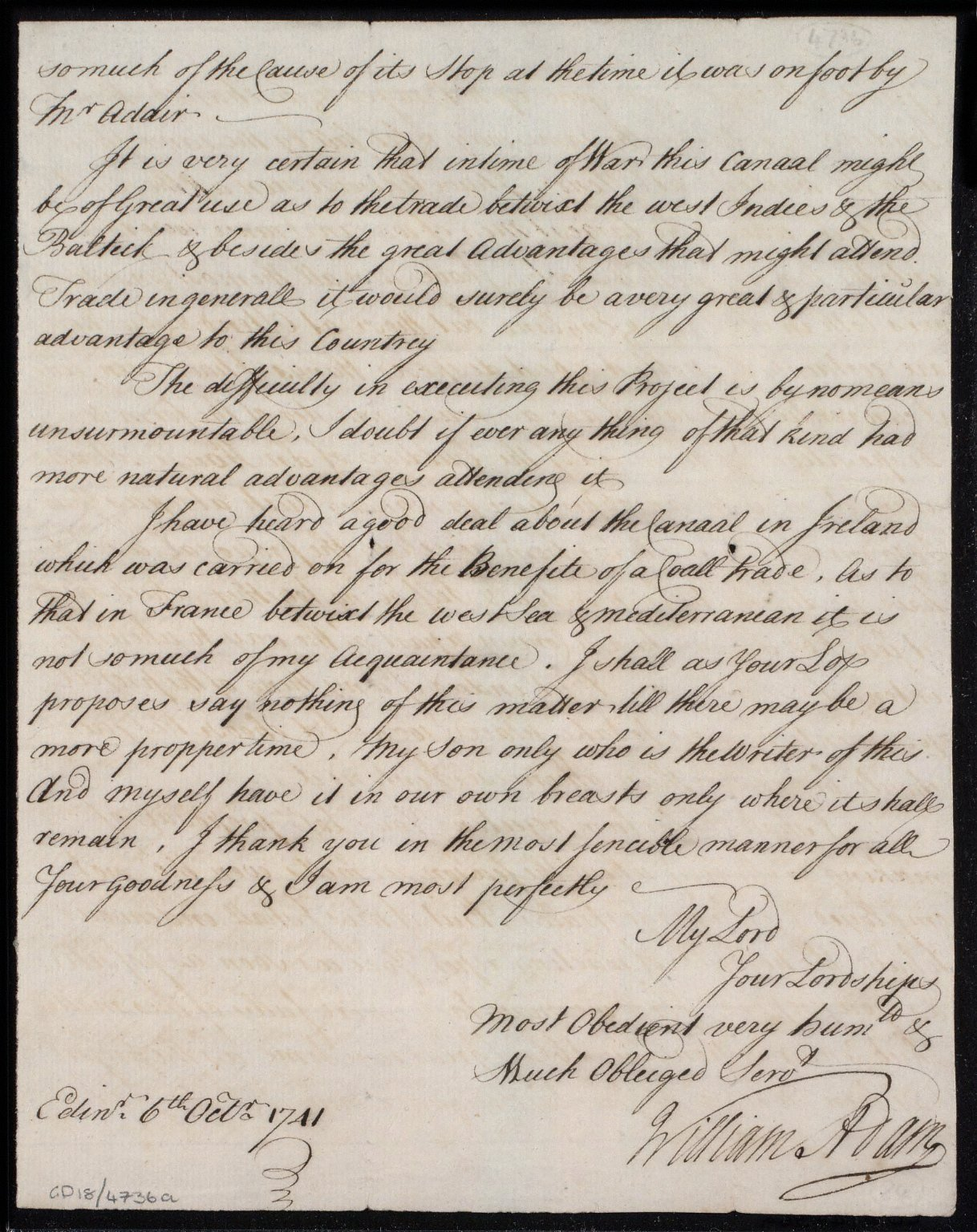 [Letter from William Adam to Sir John Clerk concerning his survey for the Forth-Clyde canal] [3 of 3]