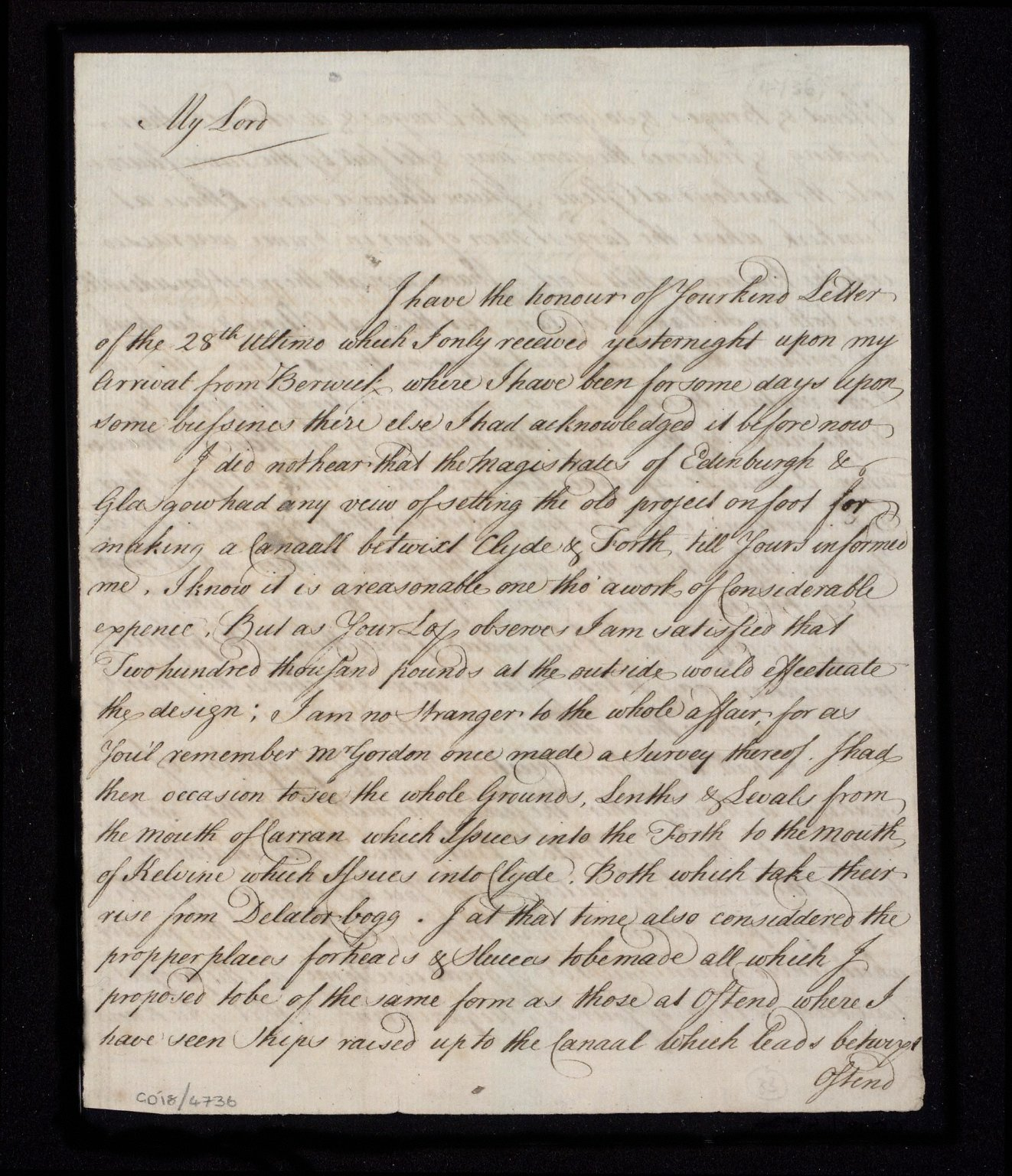 [Letter from William Adam to Sir John Clerk concerning his survey for the Forth-Clyde canal] [1 of 3]