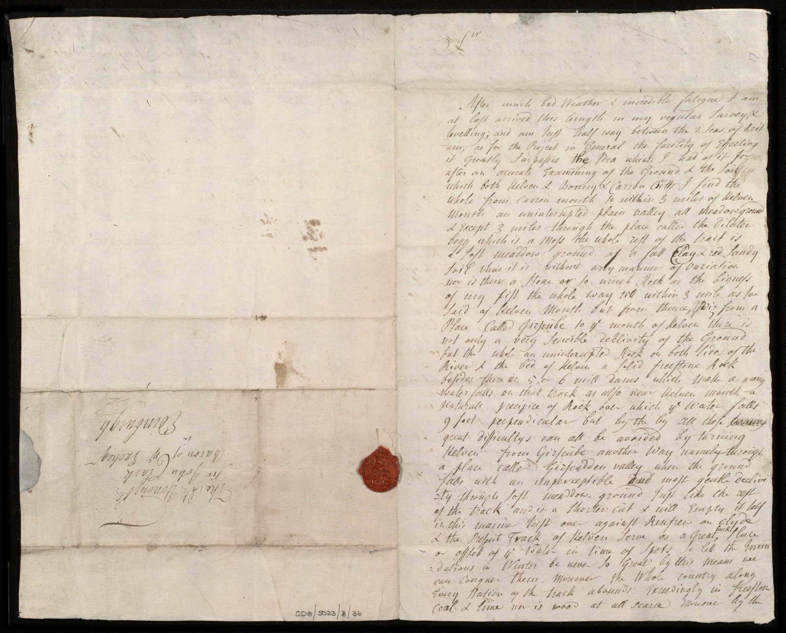 [Letter from Alexander Gordon, Kilsyth, to Sir John Clerk of Penicuik, concerning his survey of the Forth-Clyde canal] [1 of 2]