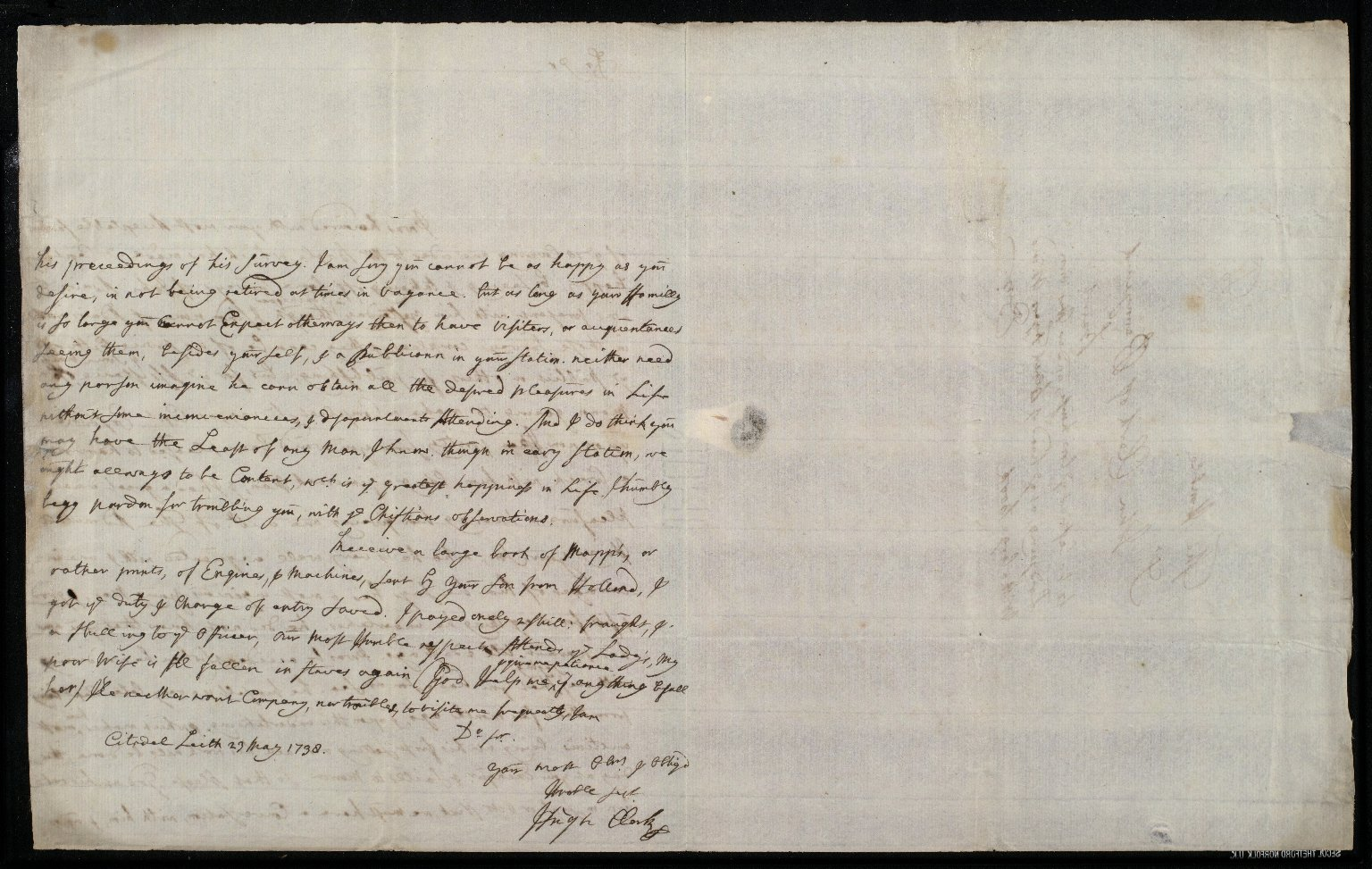 [Letter from Hugh Clerk, Citadell, Leith, to Sir John Clerk of Penicuik concerning approval of loan of Adair's maps for Captain Erskine's survey] [2 of 2]