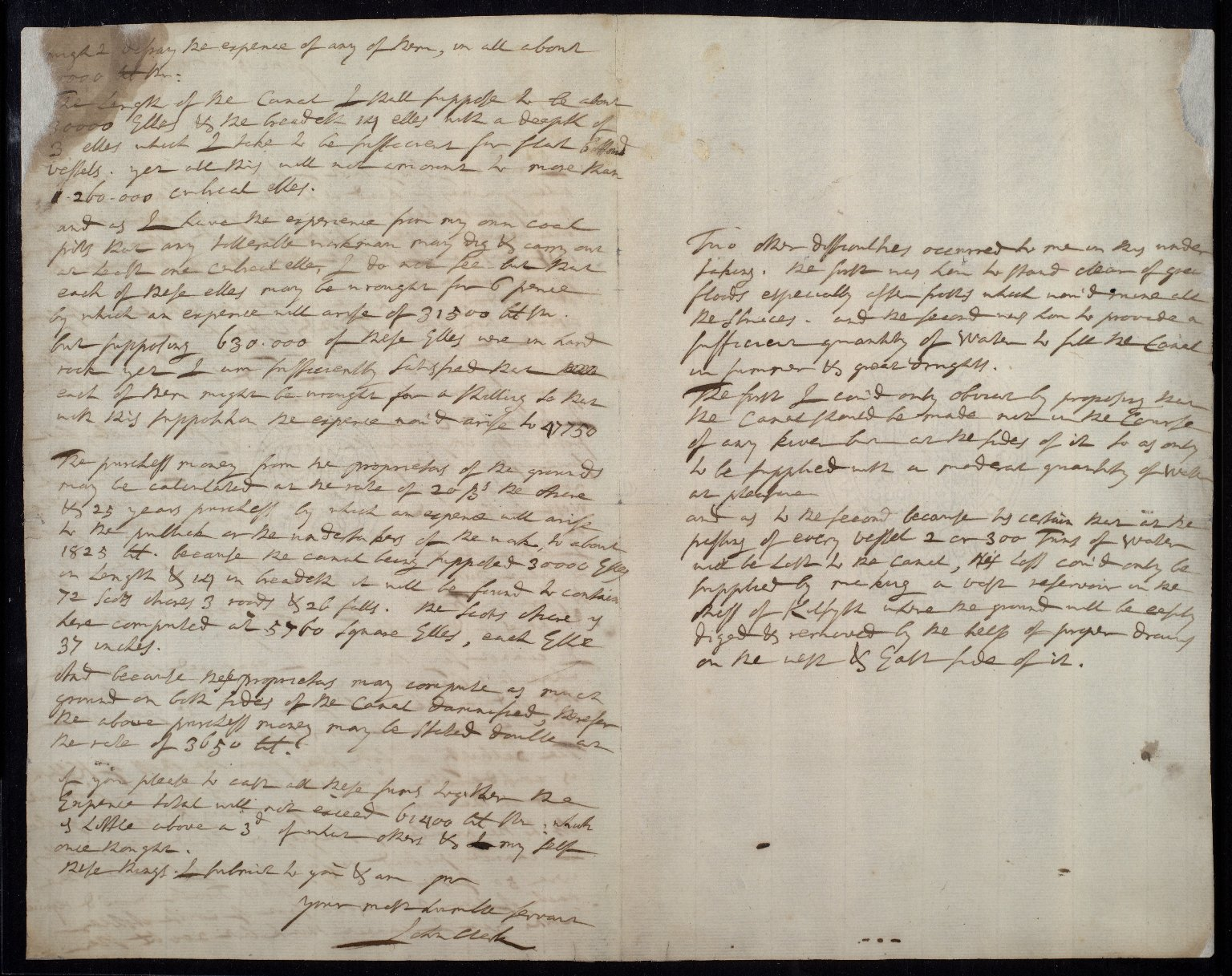 [Copy letter from Sir John Clerk to William Adam? concerning the Forth-Clyde canal project, [2 of 2]