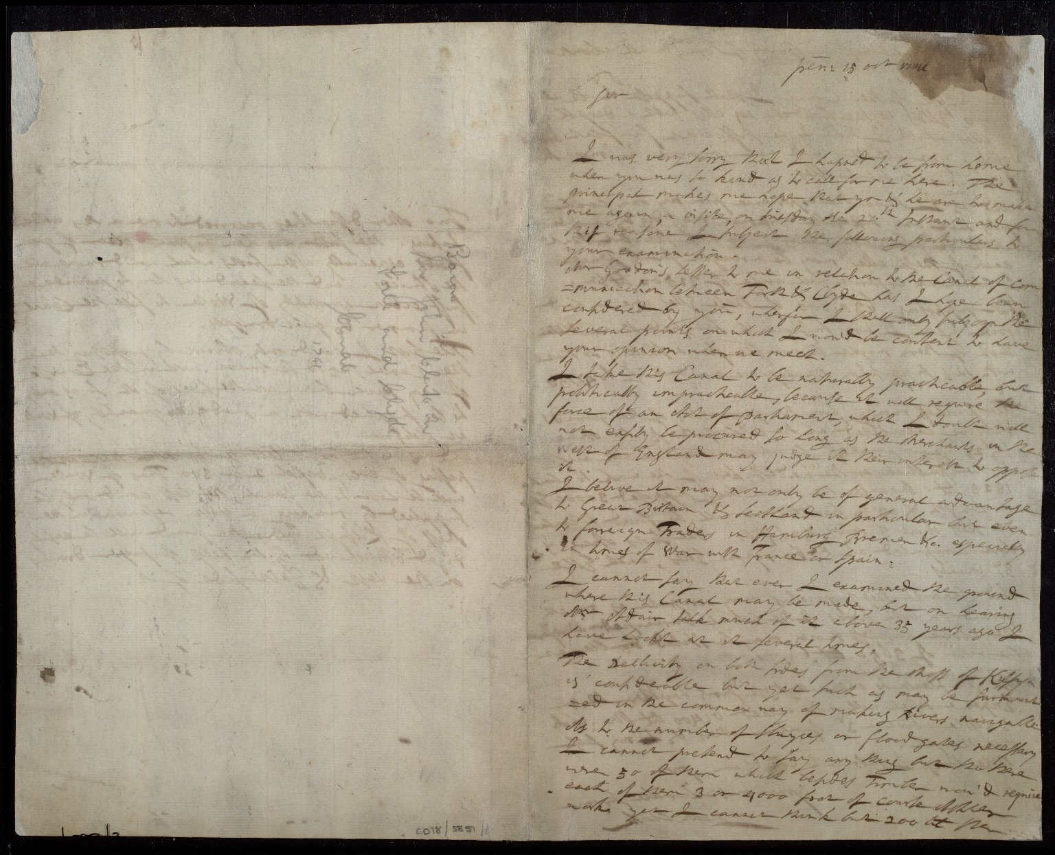 [Copy letter from Sir John Clerk to William Adam? concerning the Forth-Clyde canal project, [1 of 2]