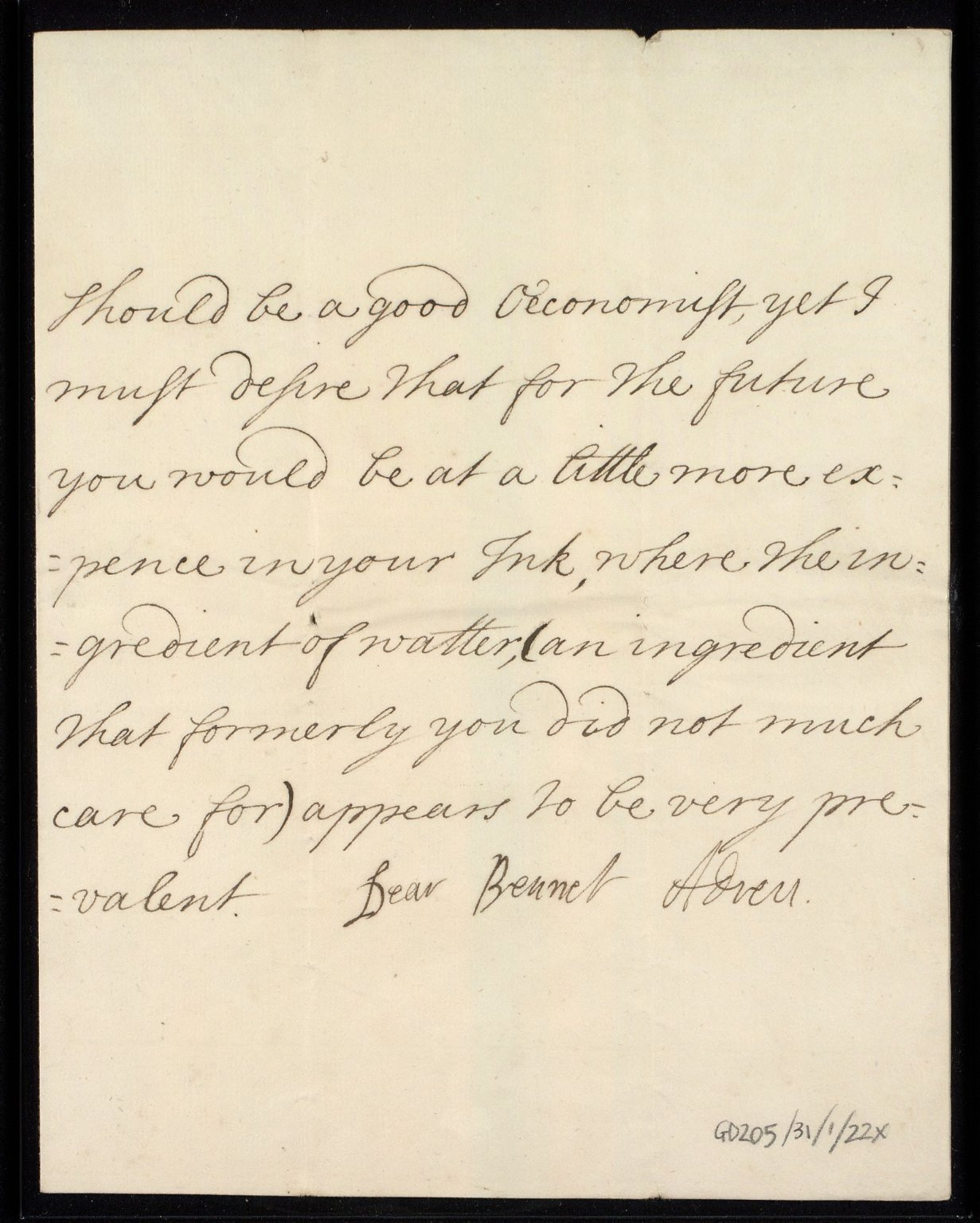 [Letter from the Countess of Roxburghe, London, to Sir William Bennet of Grubbet concerning the Broxmouth garden and its earlier survey by John Adair, 3 September 1719] [3 of 3]