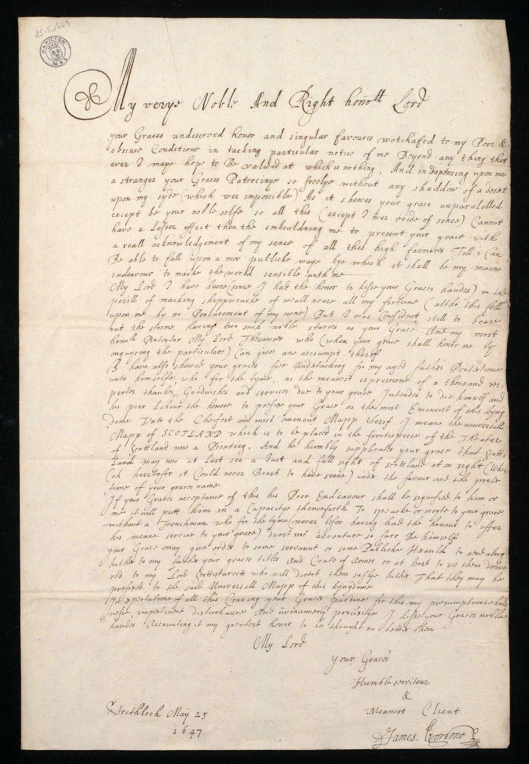 [Letter from James Gordon, Strathloch, to the Duke of Hamilton, 25 May 1647, [1 of 2]