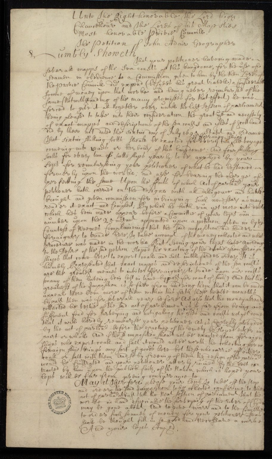 The Petition of John Adair Geographer [1 of 2]