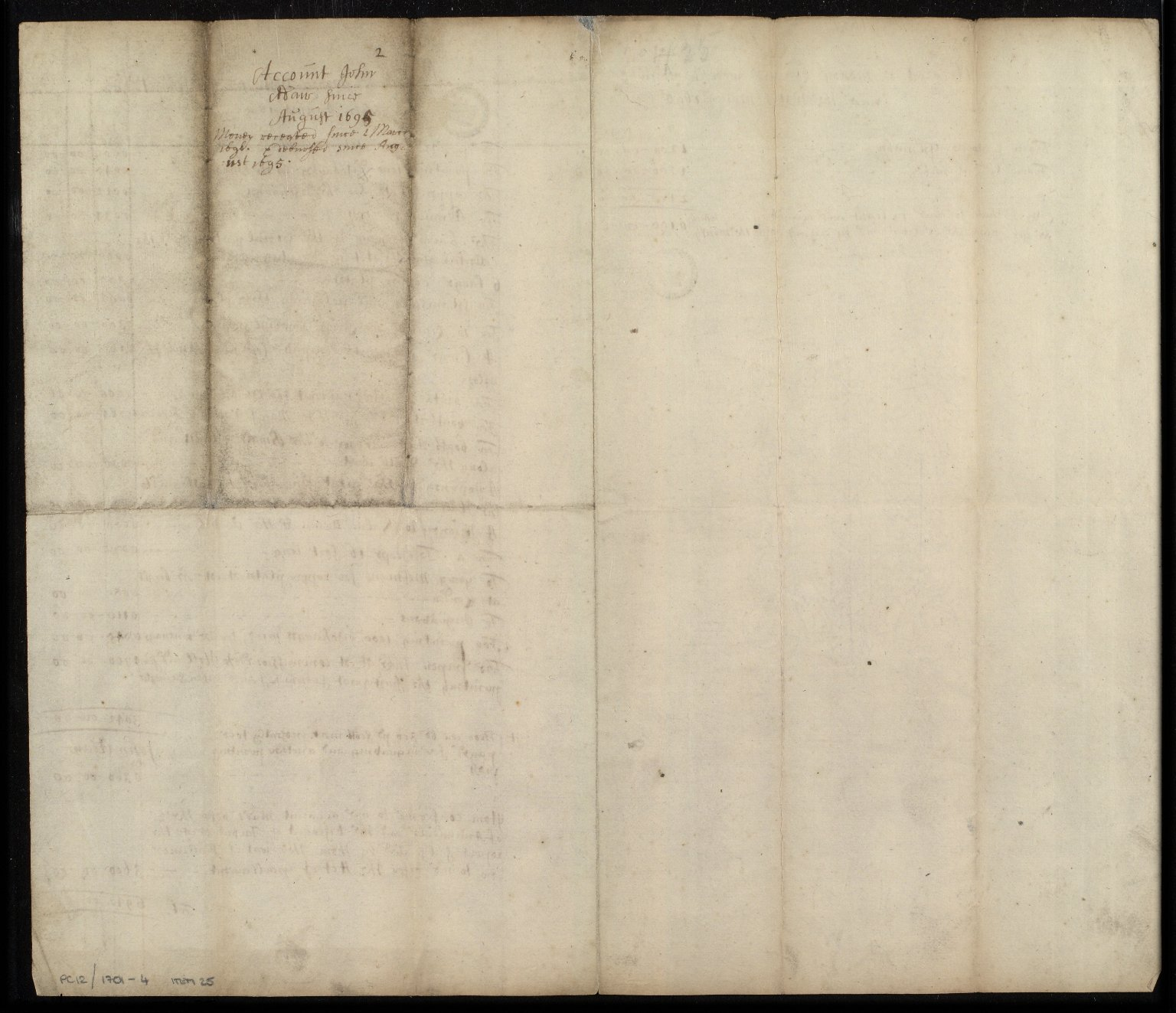 [Holograph accounts of money disbursed by John Adair since August 1695] [2 of 2]