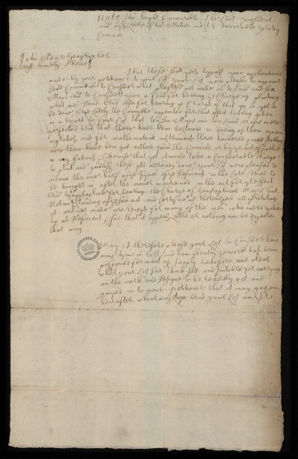 [Petition of John Adair to the Privy Council concerning delays in his work and requesting payments] [1 of 2]