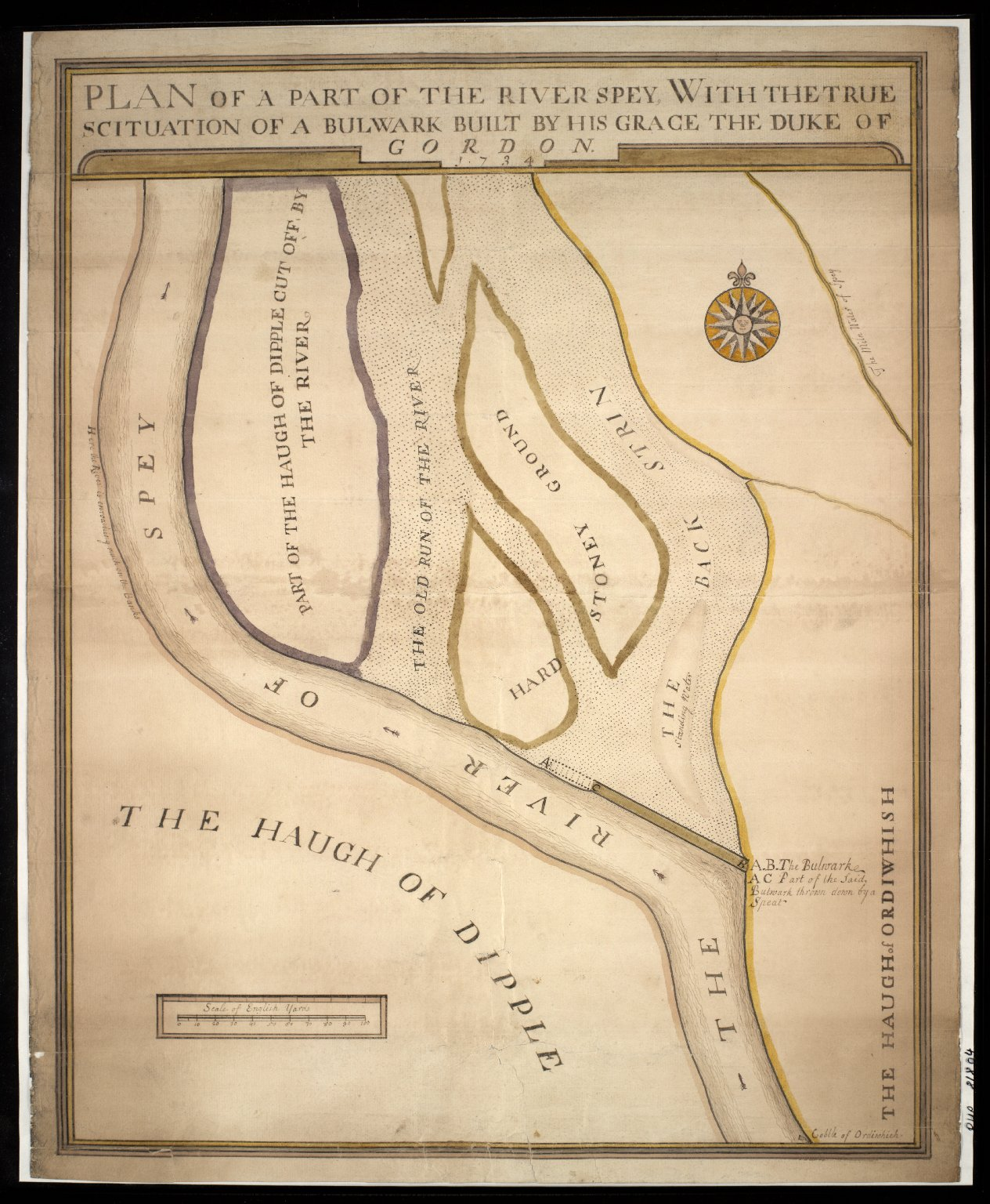 Plan of part of River Spey between Haughs of Dipple and Ordiequish (Ordiwhish) with the true situation of a bulwark built by Duke of Gordon. [1 of 1]