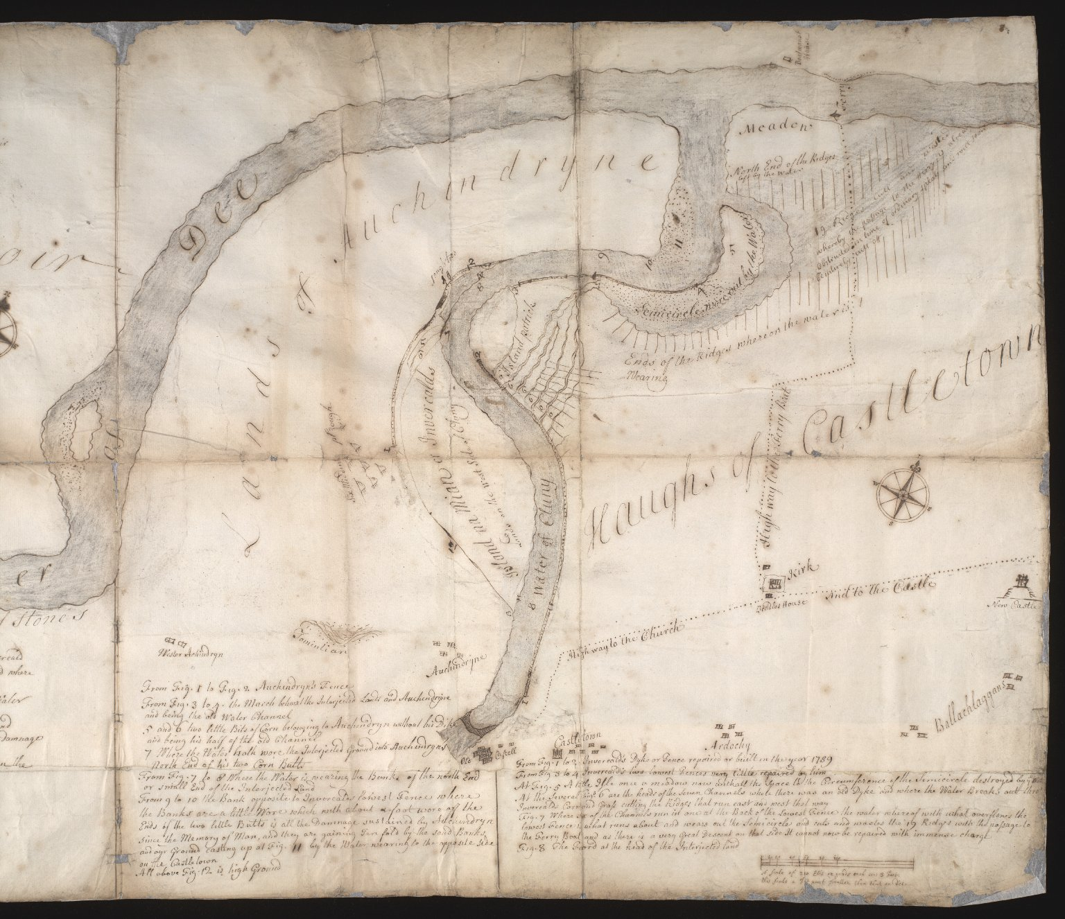 Plan of that part of the Waters of Dee and Cluny and of the grounds on both sides, anent which Invercald and Auchyndryn are disputing [2 of 3]