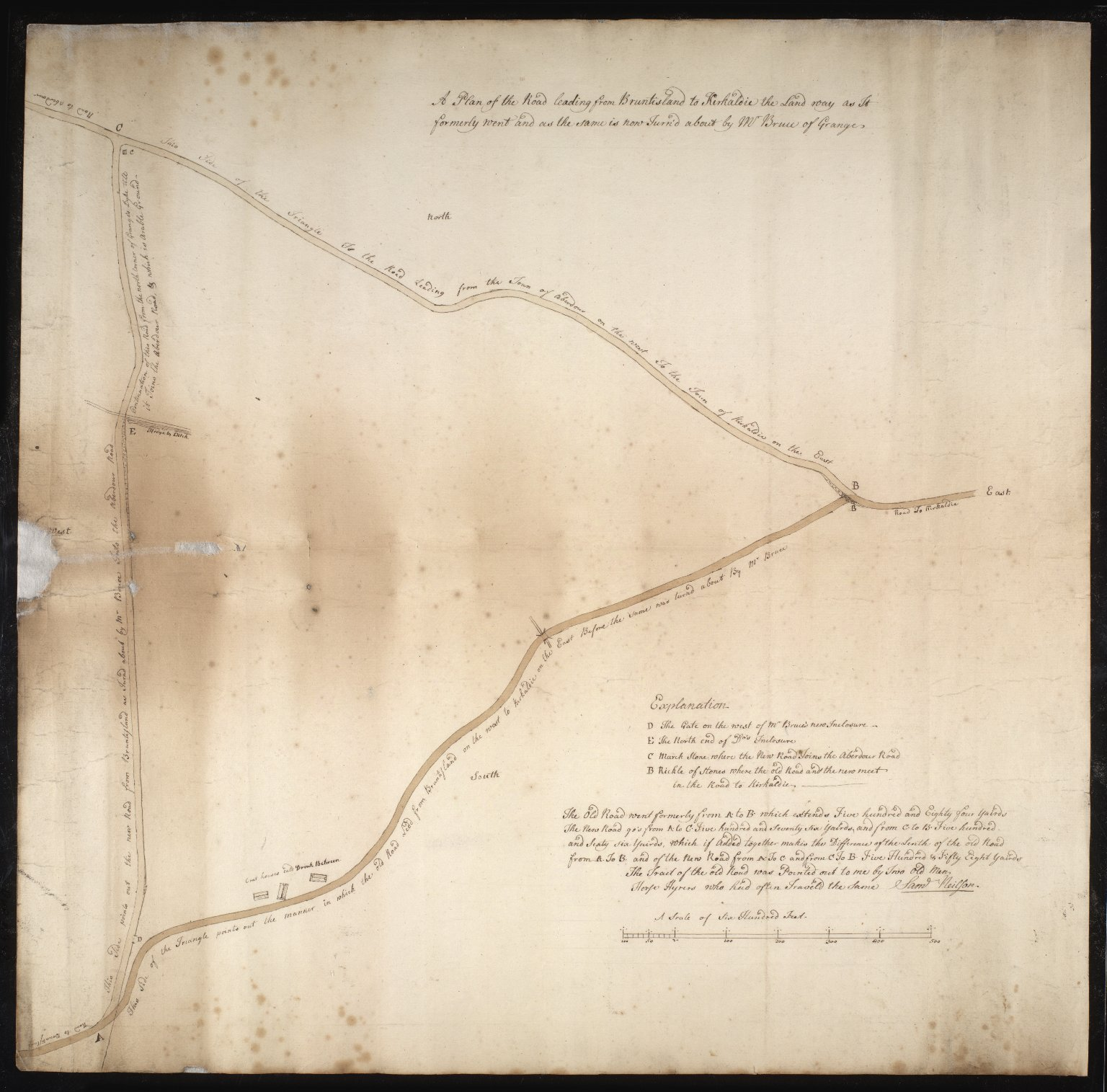 A Plan of the Road leading from Bruntisland to Kirkaldie the Land way as It formerly went and as the same is now Turn'd about by Mr Bruce of Grange. [1 of 1]