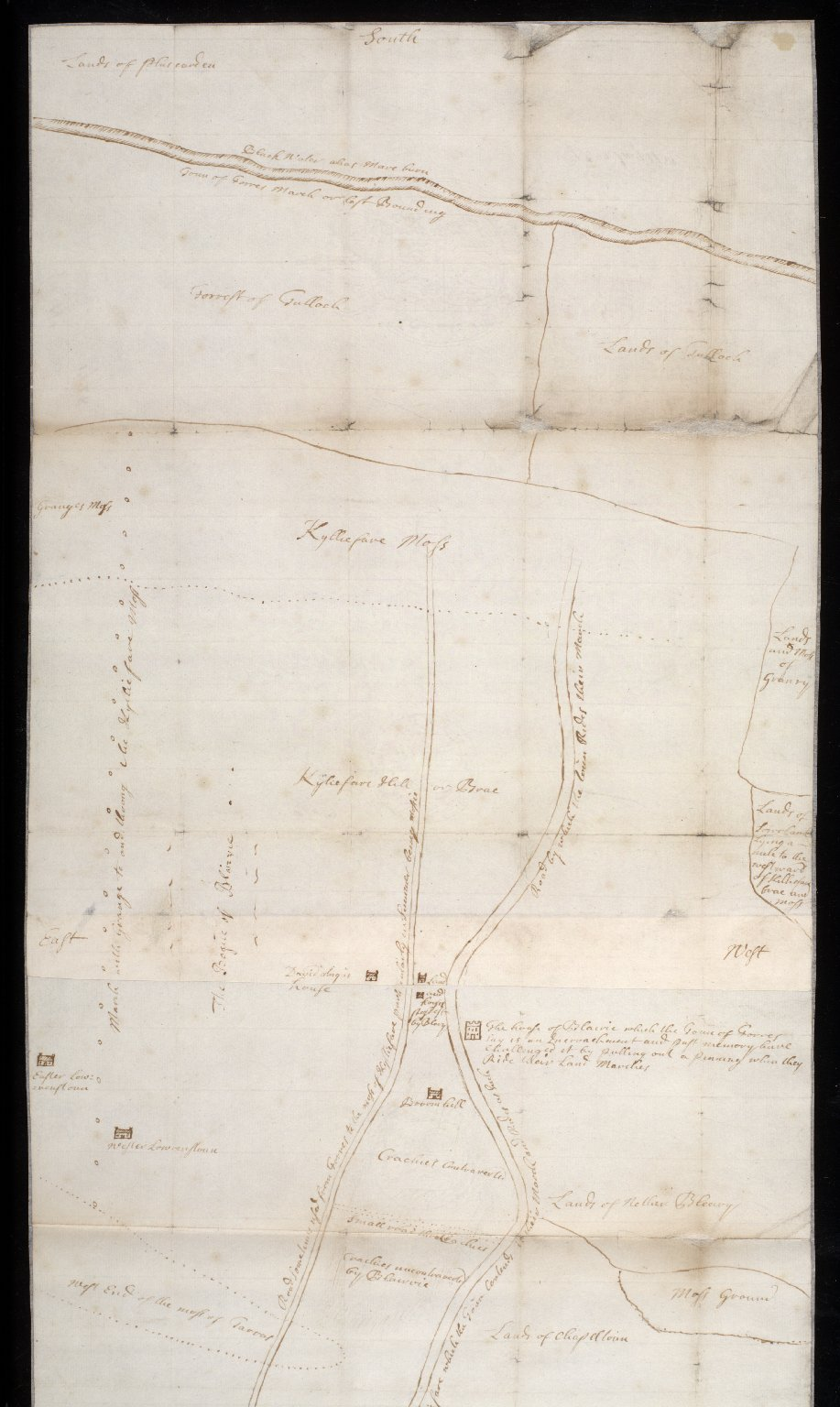 [Plan of march ground between Forres and Califer, under dispute between the town of Forres and Mackintosh of Blairvie (Blervie)] [1 of 2]