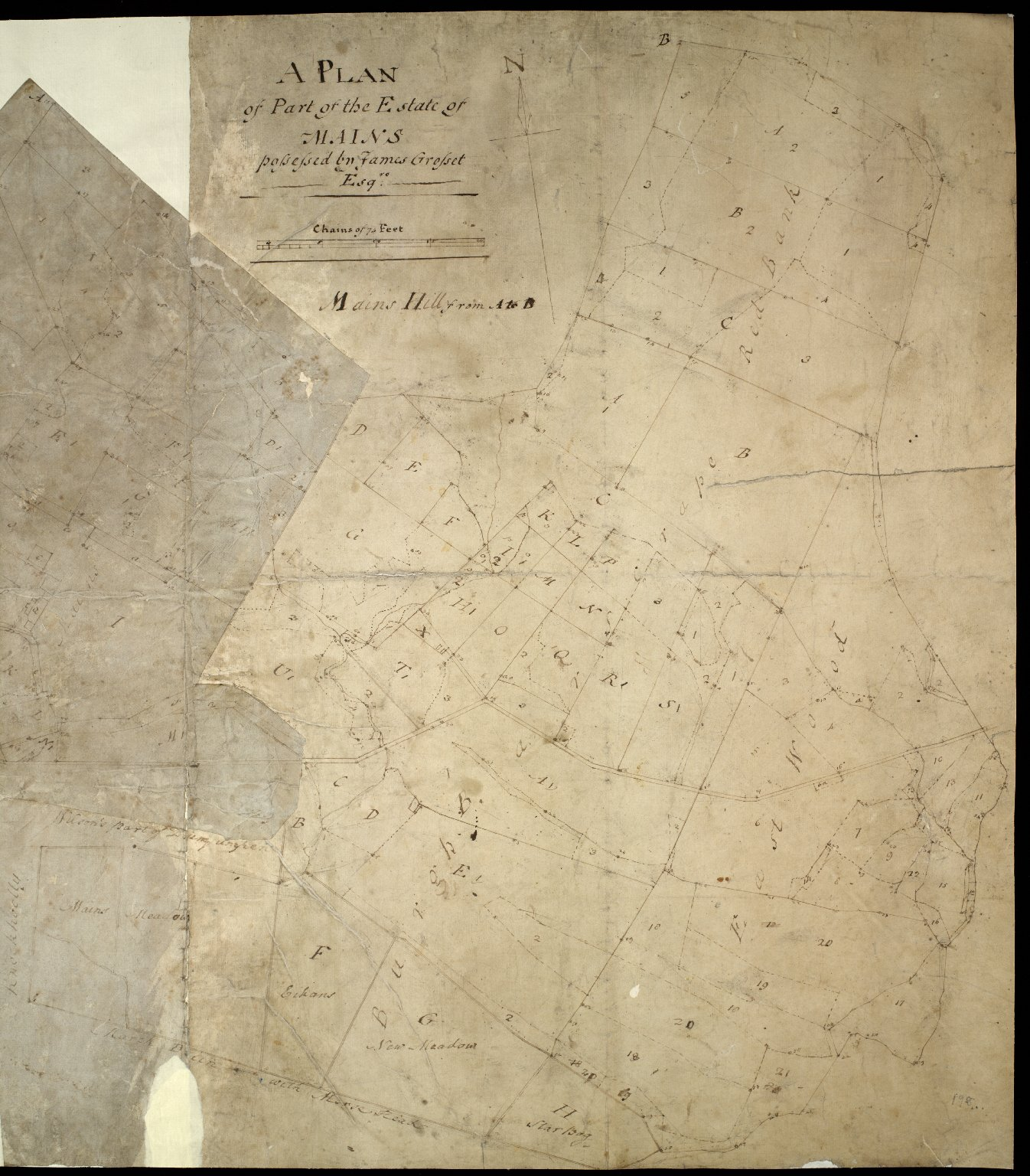 A Plan of part of the estate of Mains : possessed by James Grosset Esqre. [1 of 2]