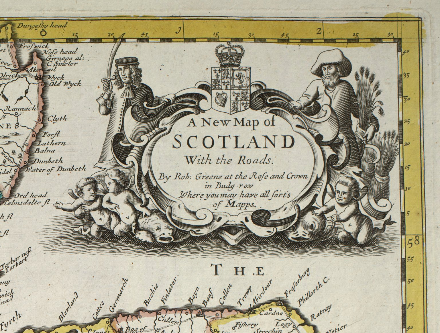 [Detail of the title cartouche from:] A New Map of Scotland With the Roads [1 of 1]