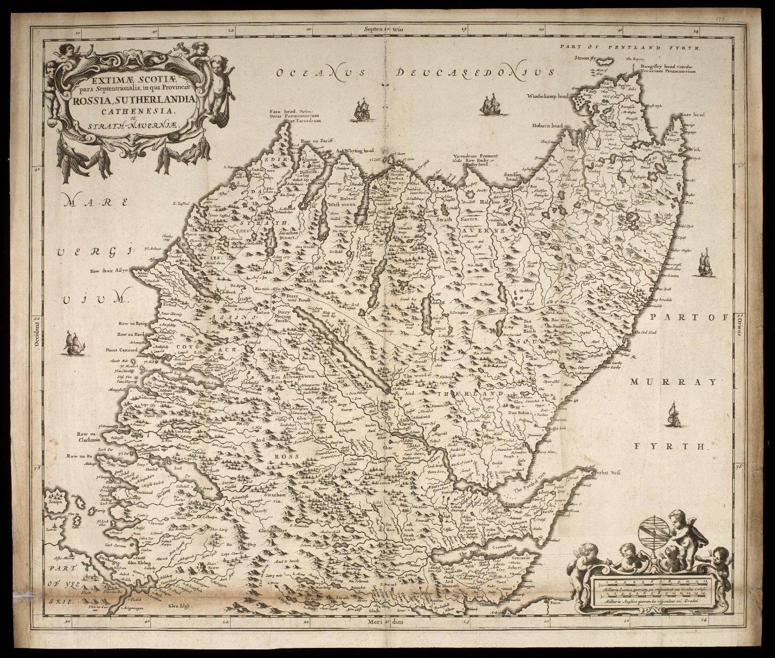Extimae Scotiae pars Septentrionalis, in qua Provinicae Rossia, Sutherlandia, Cathenesia, et Strath-Naverniae. [1 of 1]