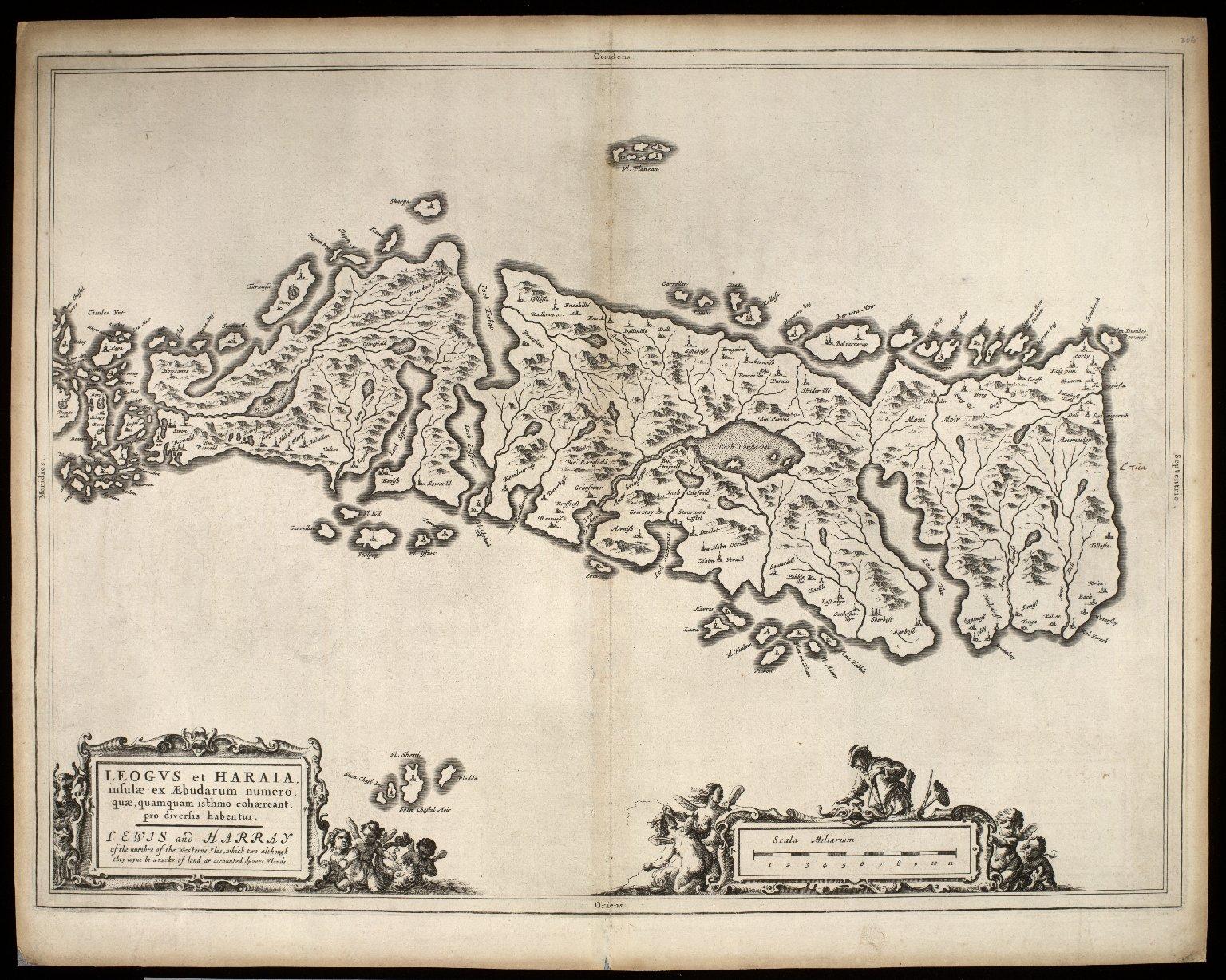 Leogus et Haraia insulae ex Aebudarum numero, quae quamquam isthmo cohaereant, pro diversis habentur. [1 of 1]