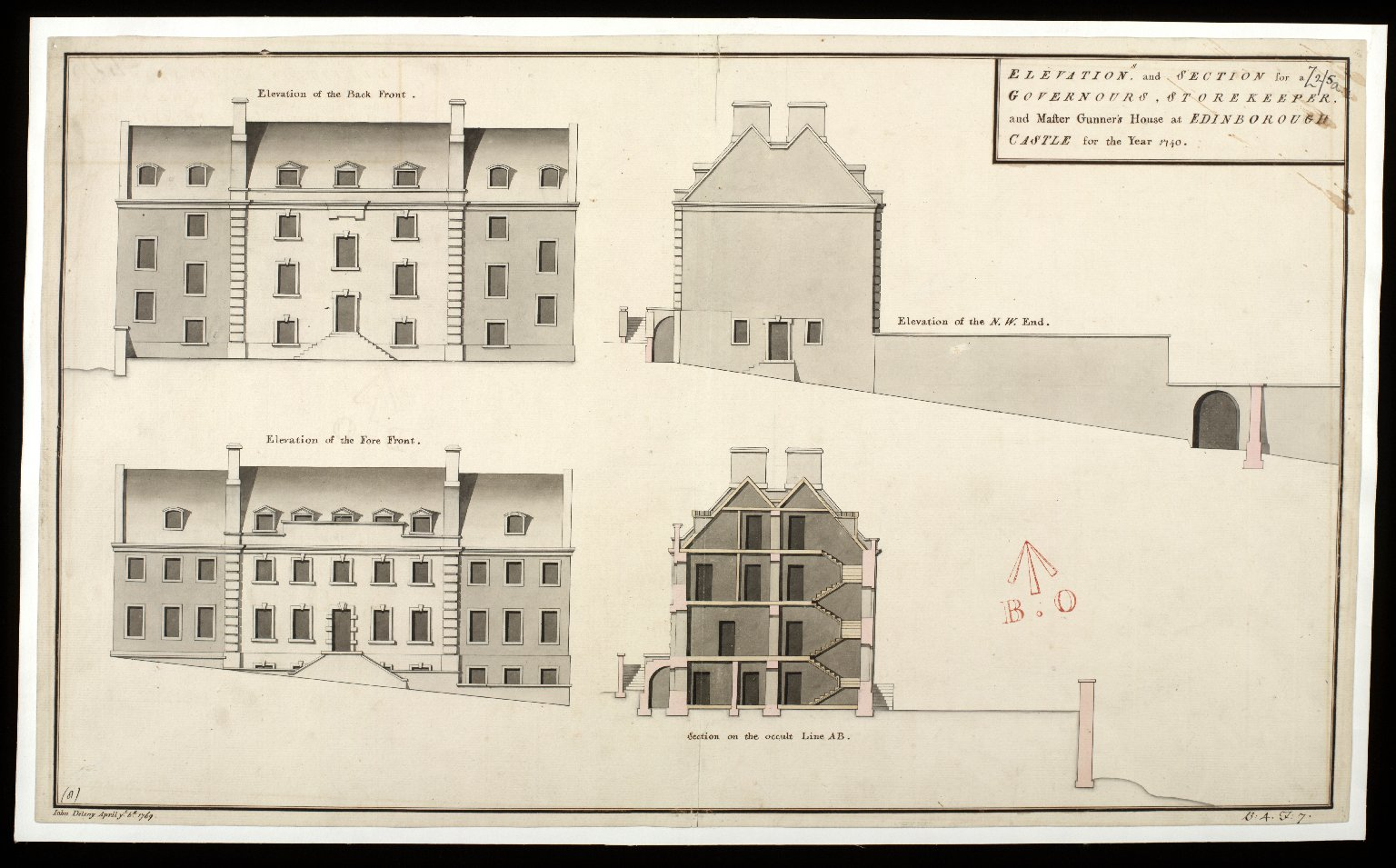 Elevations and section for Governours, storekeeper, and master gunner's house at Edinborough Castle for the year 1740 [1 of 1]