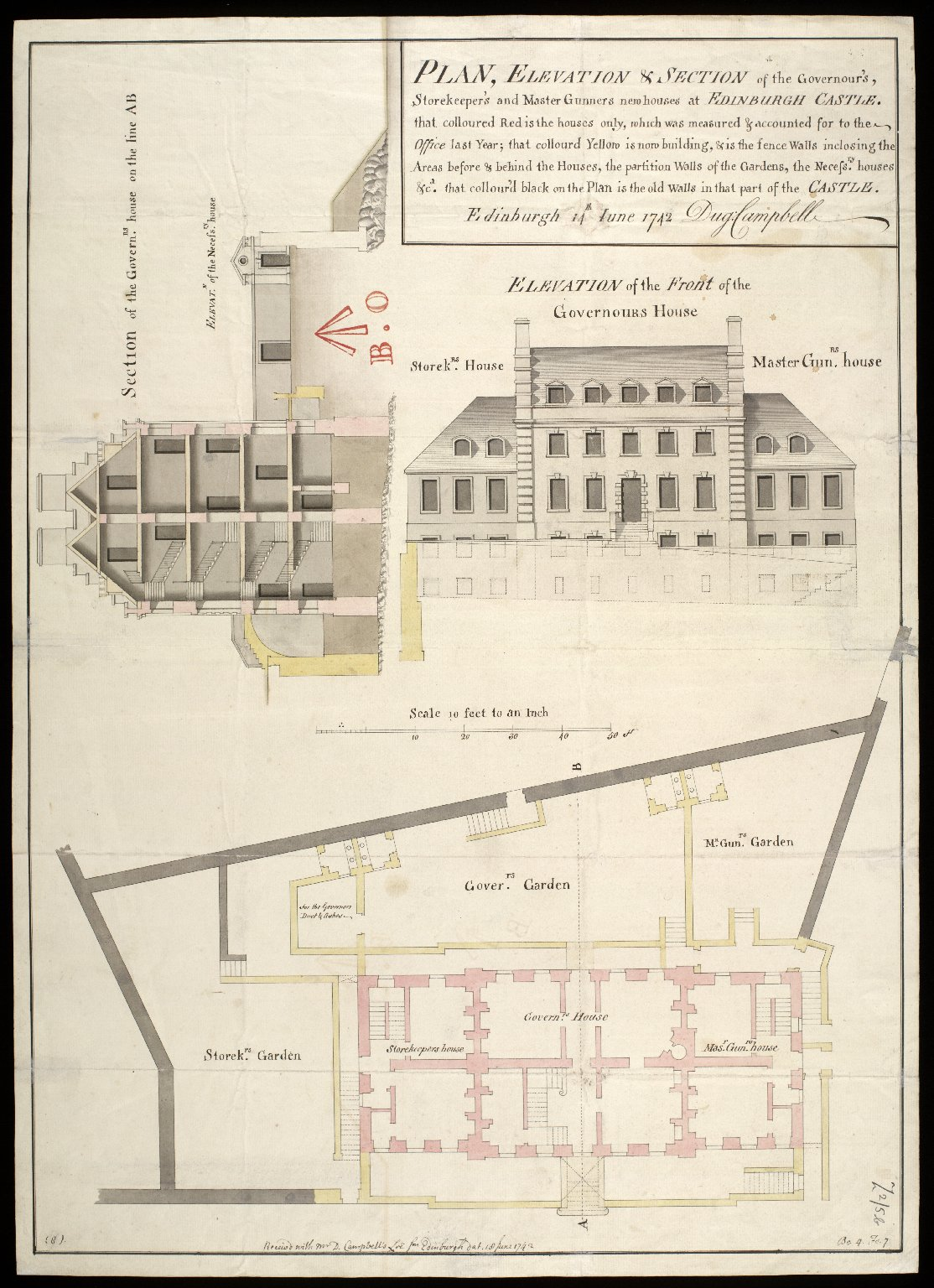 Plan, elevation & section of the Governour's, storekeeper's and master gunners new houses at Edinburgh Castle : Edinburgh 14th June 1742 [1 of 1]