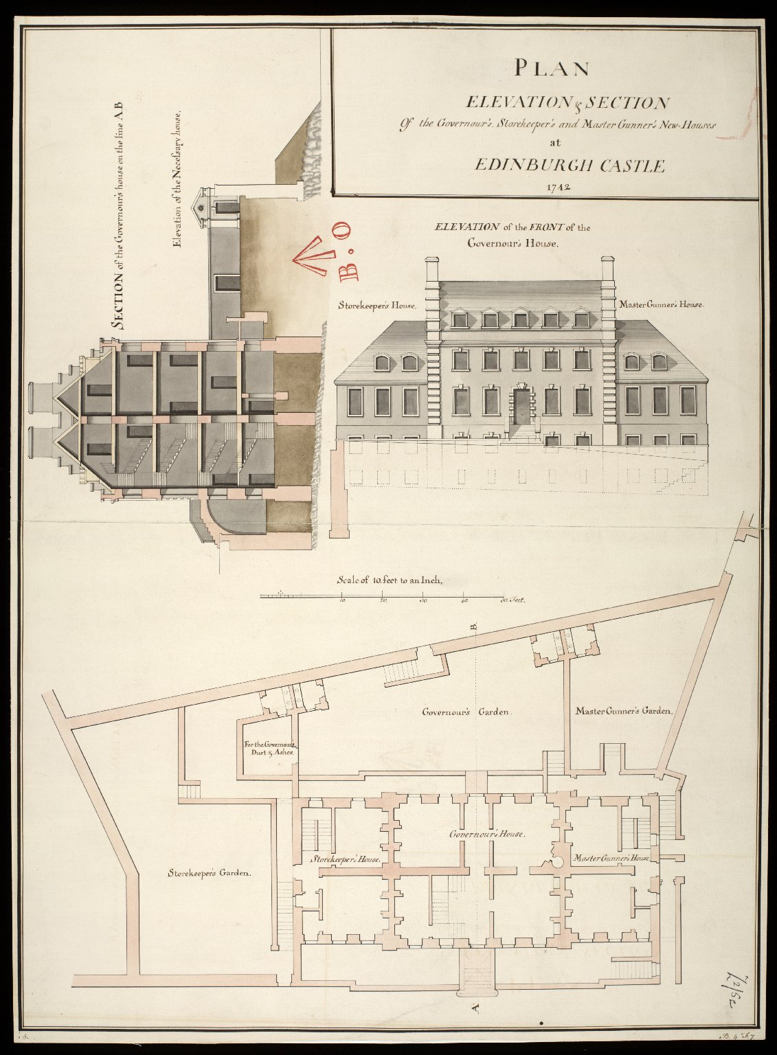Plan, elevation & section of the Governour's, storekeeper's and master gunner's new=houses at Edinburgh Castle 1742 [copy] [1 of 1]