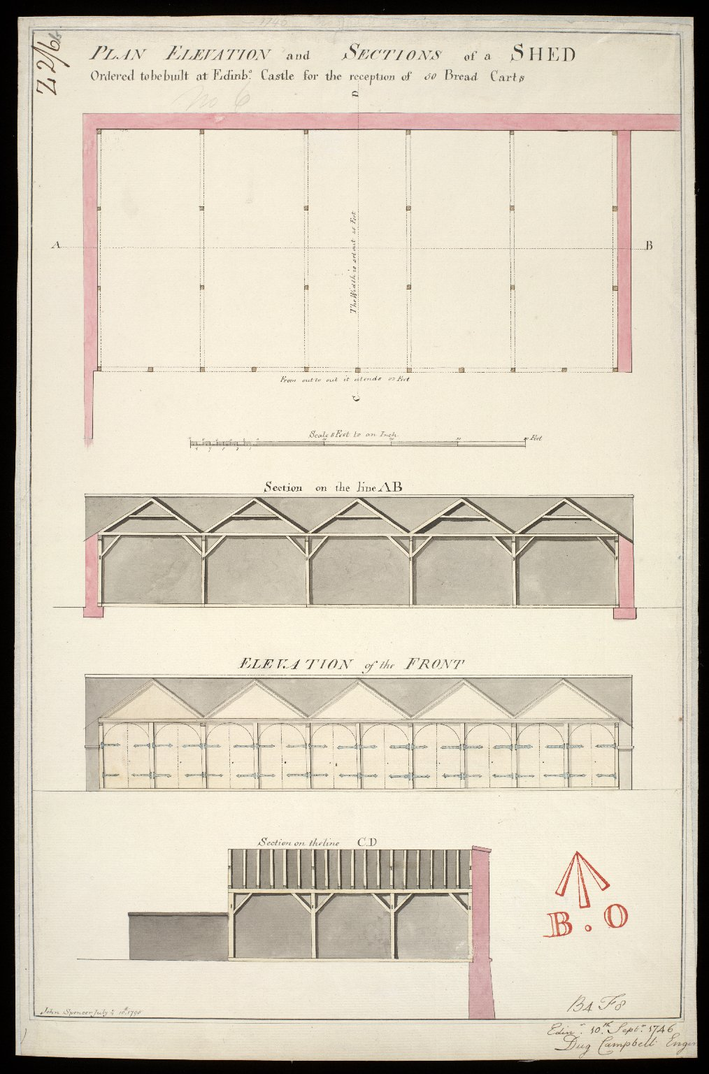 Plan elevation and sections of a shed : ordered to be built at Edinbo. Castle for the reception of 50 bread carts [copy] [1 of 1]