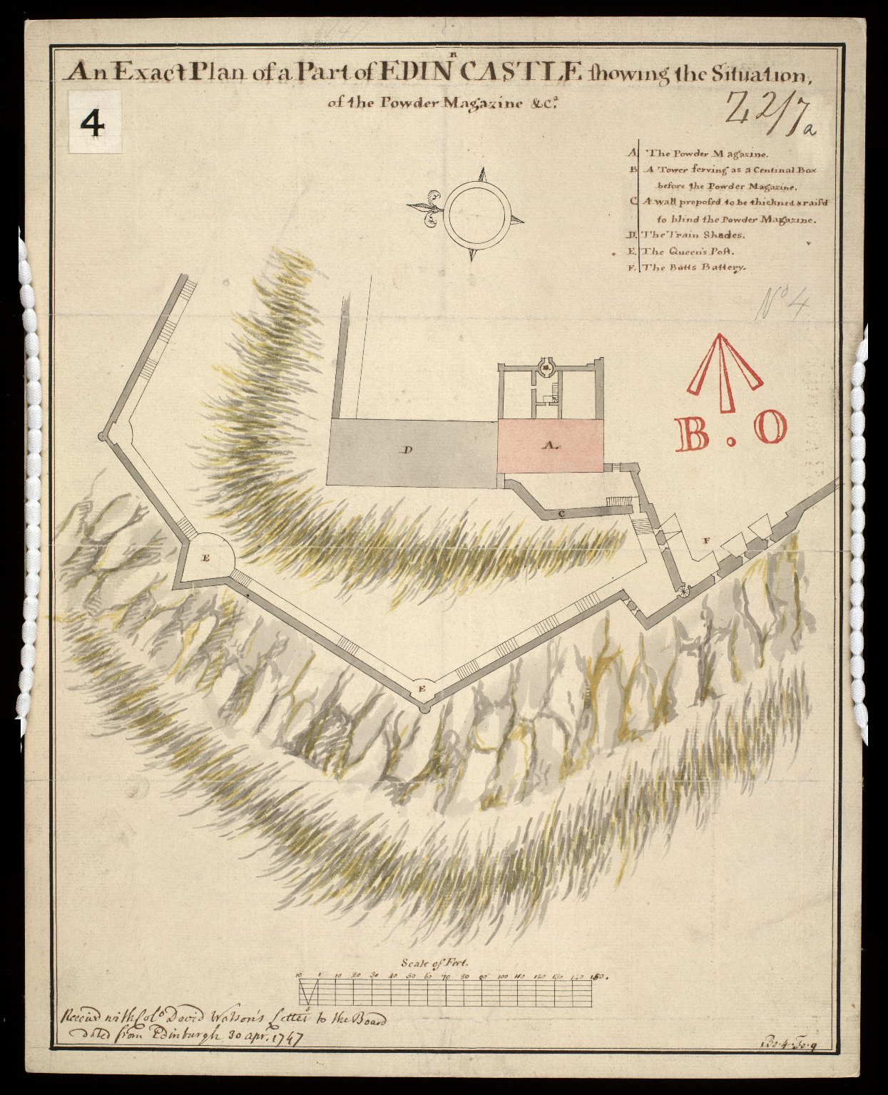 An Exact plan of a part of Edinbr Castle showing the situation of the powder magazine, etc. [1 of 1]