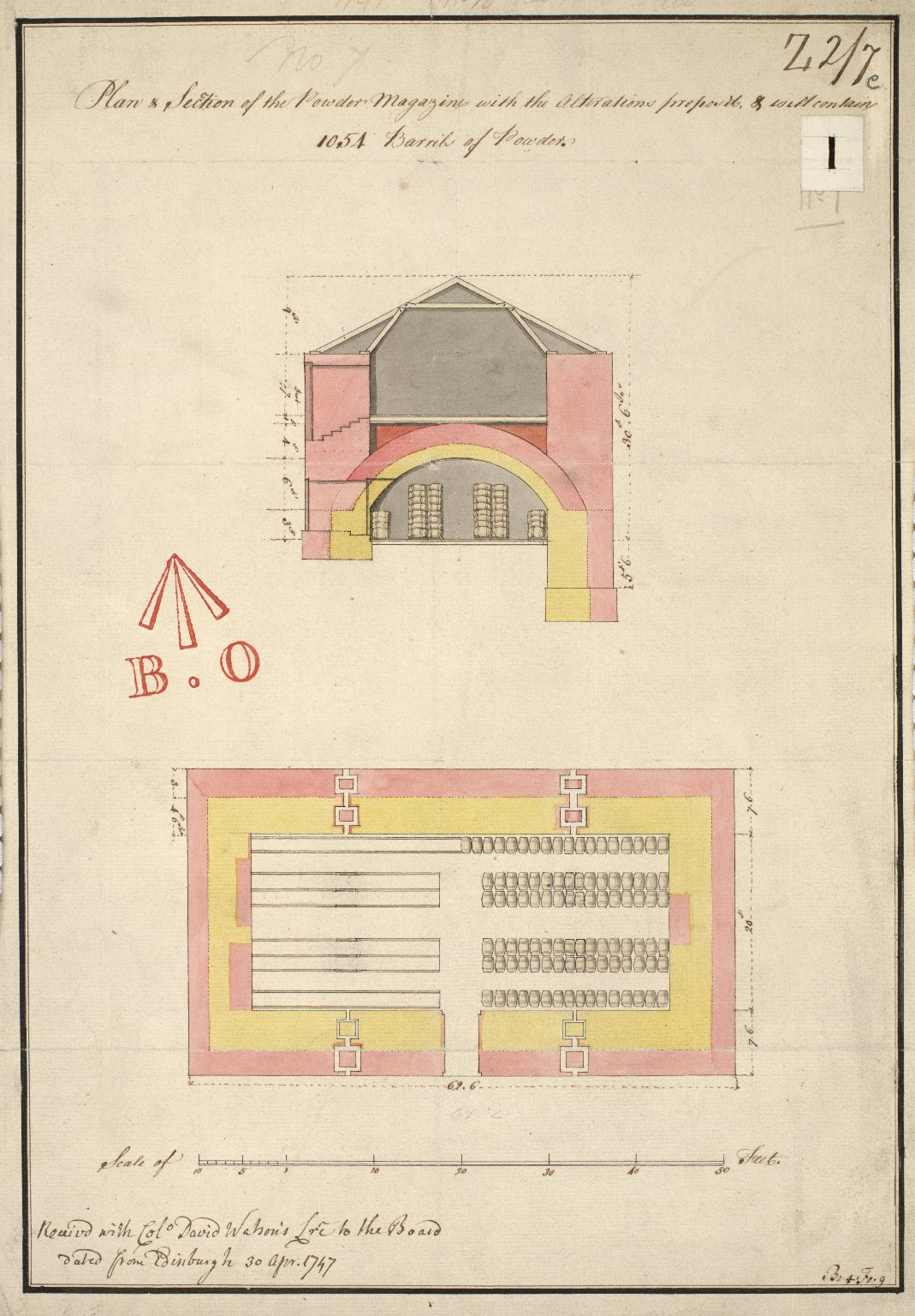 Plan & section of the powder magazine with the alterations propos'd, & will contain 1054 barrils of powder [1 of 1]