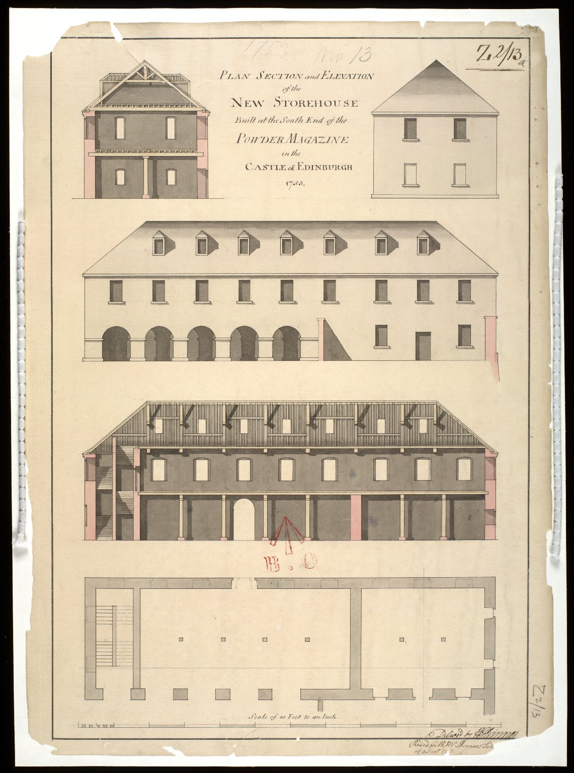 Plan section and elevation of the new storehouse built at the south end of the powder magazine in the Castle of Edinburgh 1753 [1 of 1]