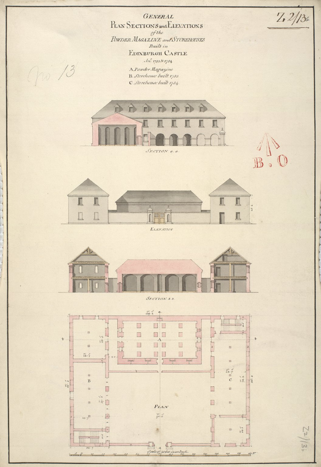 General plan sections and elevations of the powder magazine and storehouses built in Edinburgh Castle Ano: 1753 & 1754 [1 of 1]