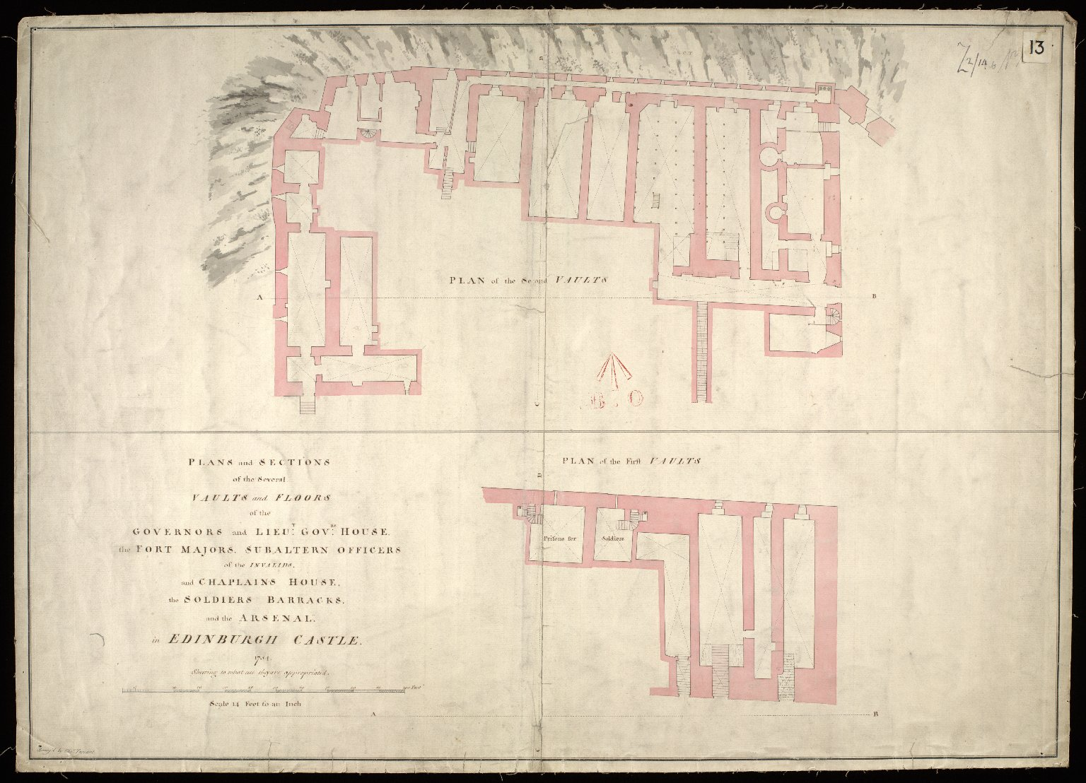 Plans and sections of the several vaults and floors of the Governors and Lieut: Govrs: house, the Fort Majors, Subaltern Officers of the Invalids, and the Chaplains house, the soldiers barracks and the arsenal in the Edinburgh Castle 1754 [1 of 1]