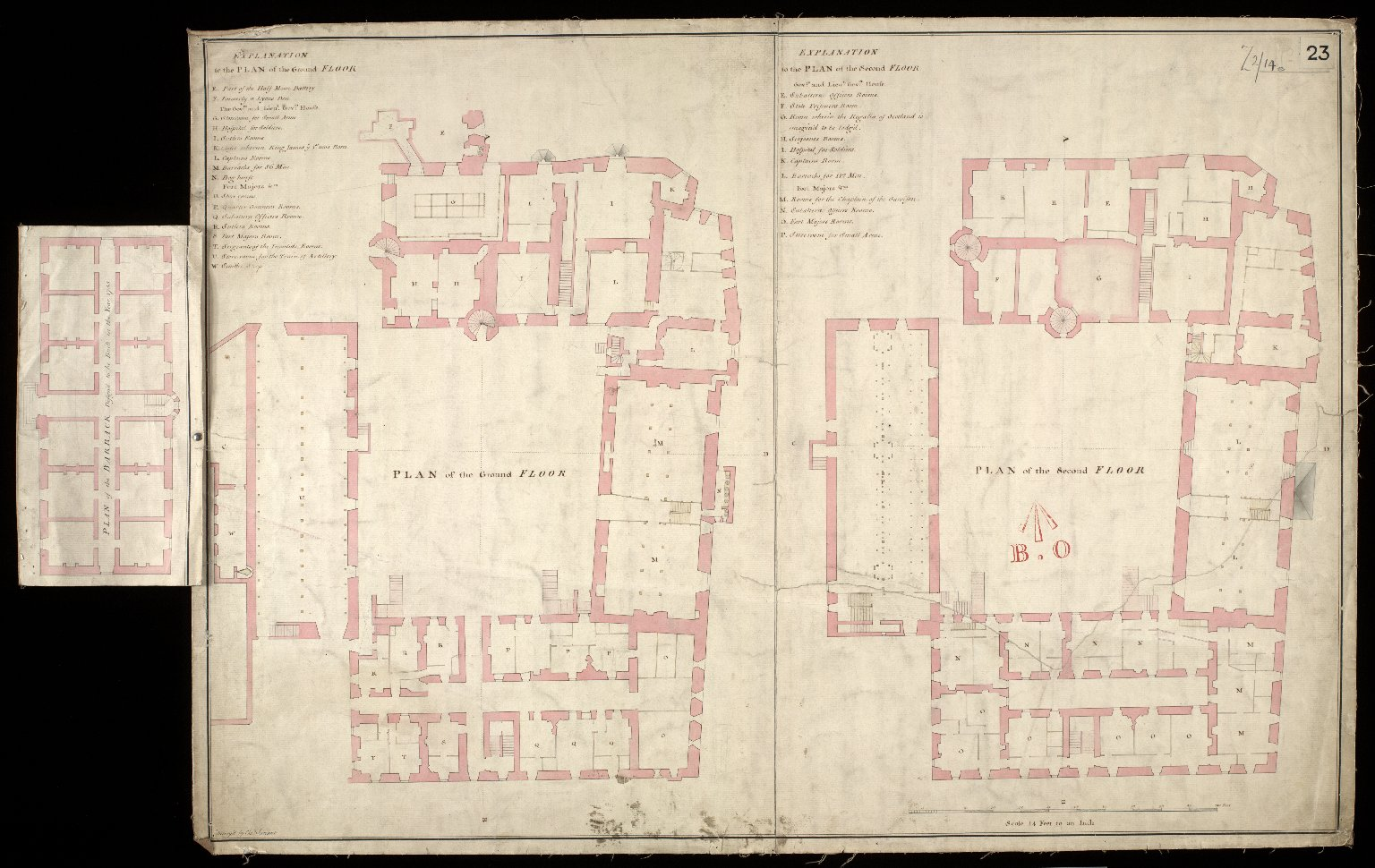 [Edinburgh Castle] : Plan of ground floor : plan of second floor : plan of the Barracks Design'd to be Built in the Year 1755 [1 of 1]