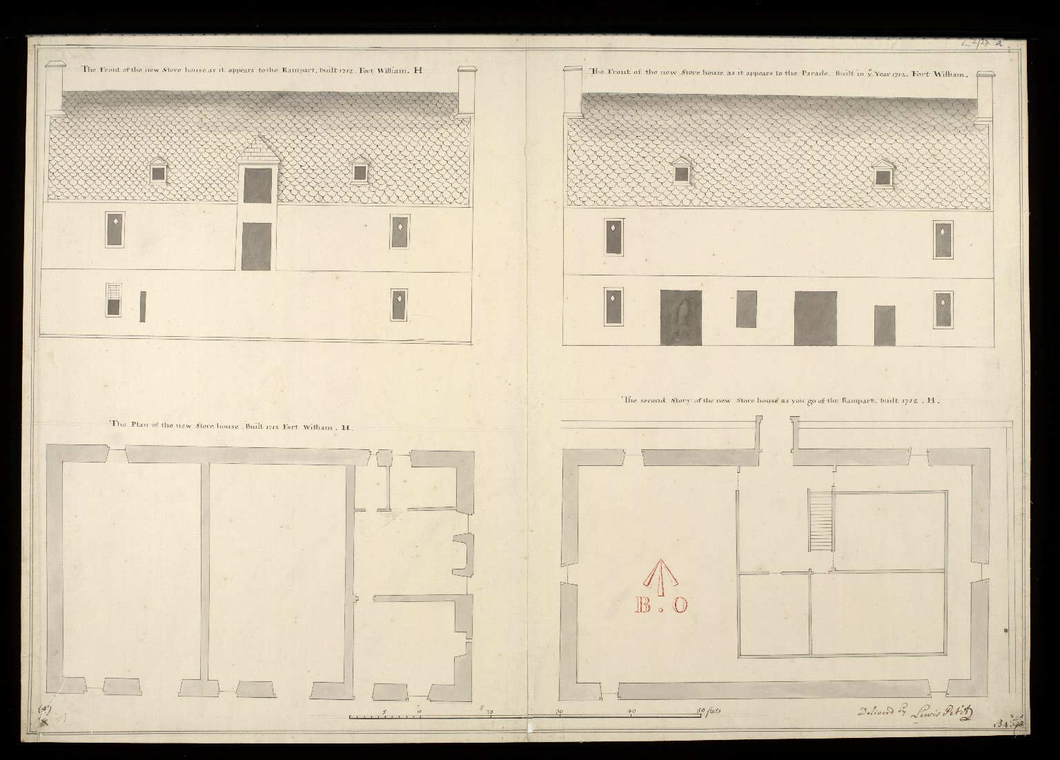 [Plan of store house, Fort William] : The front of the new store house as it appears to the rampart, built 1712, Fort William, H [...] [1 of 1]