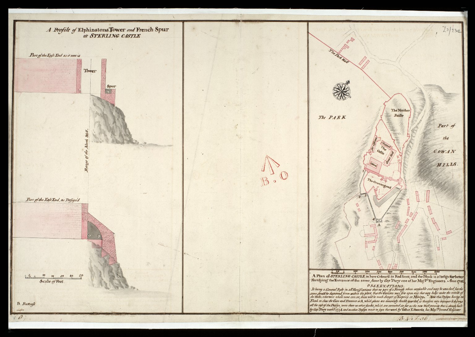 A Plan of Sterling [i.e. Stirling] Castle, as here color'd in red lines, and the black is a design for better fortifying the entrance of the same : A profile of Elphinstons Tower and French Spur at Sterling Castle [copy] [1 of 1]