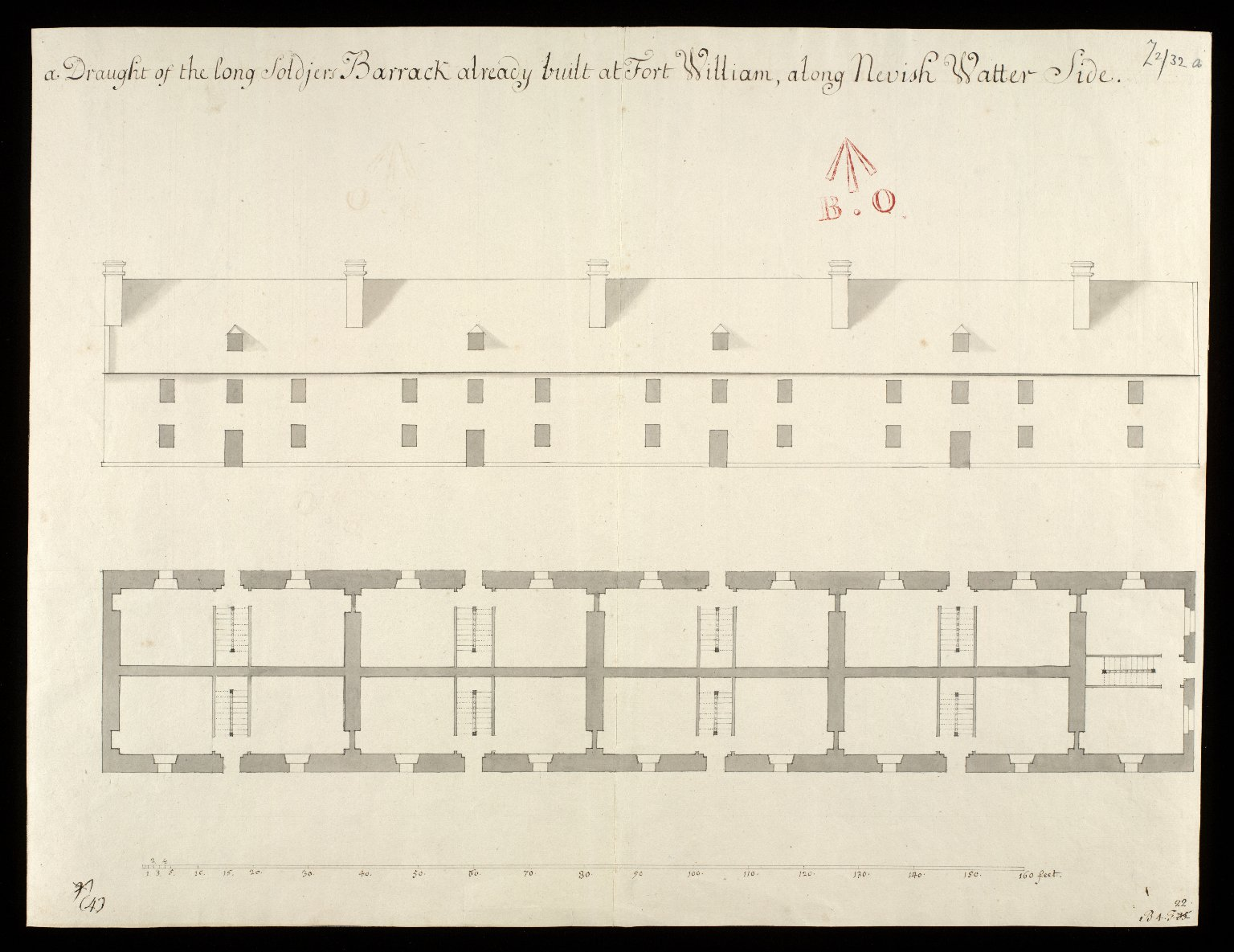 A Draught of the long soldjers barrack already built at Fort William, along Nevish Watter side [1 of 1]