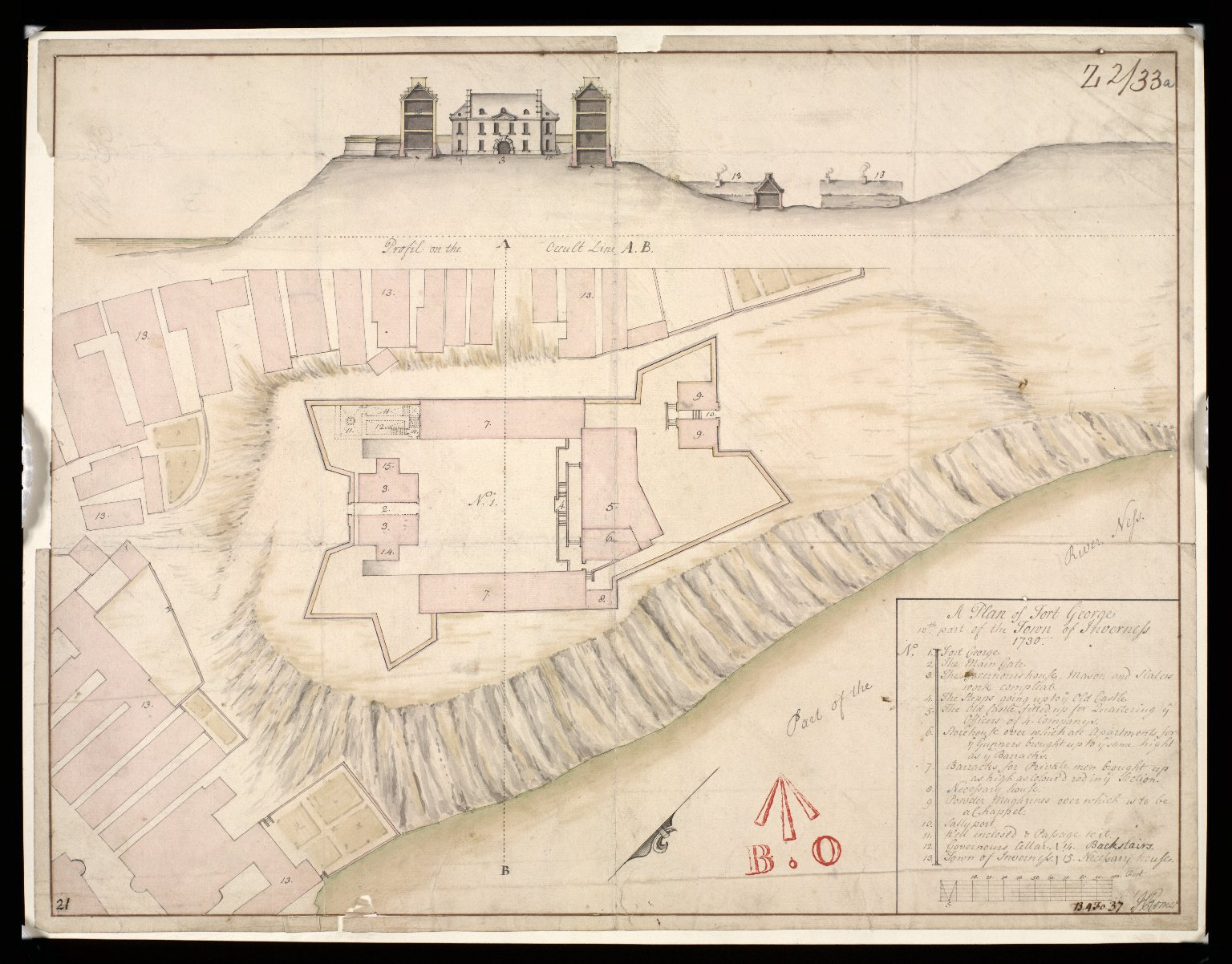 A Plan of Fort George wth part of the town of Inverness 1730 [1 of 1]