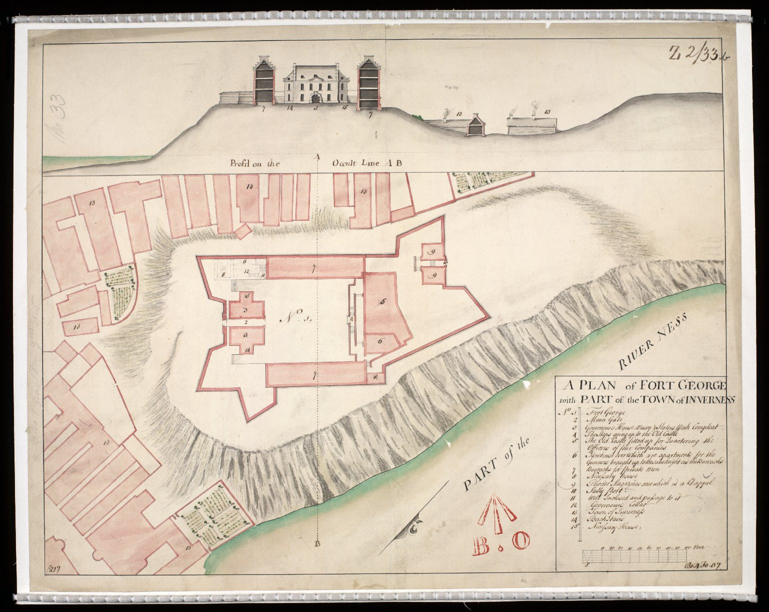 A Plan of Fort George wth part of the town of Inverness [1730] [copy] [1 of 1]