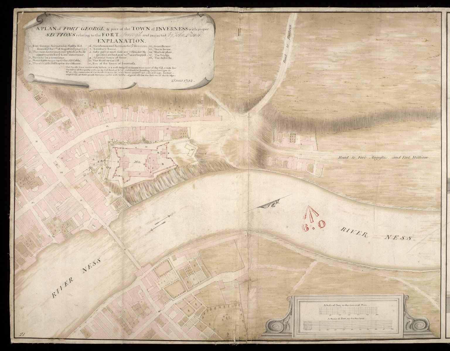 A Plan of Fort George, & part of the town of Inverness : with proper sections relating to the fort anno 1732 [1 of 2]