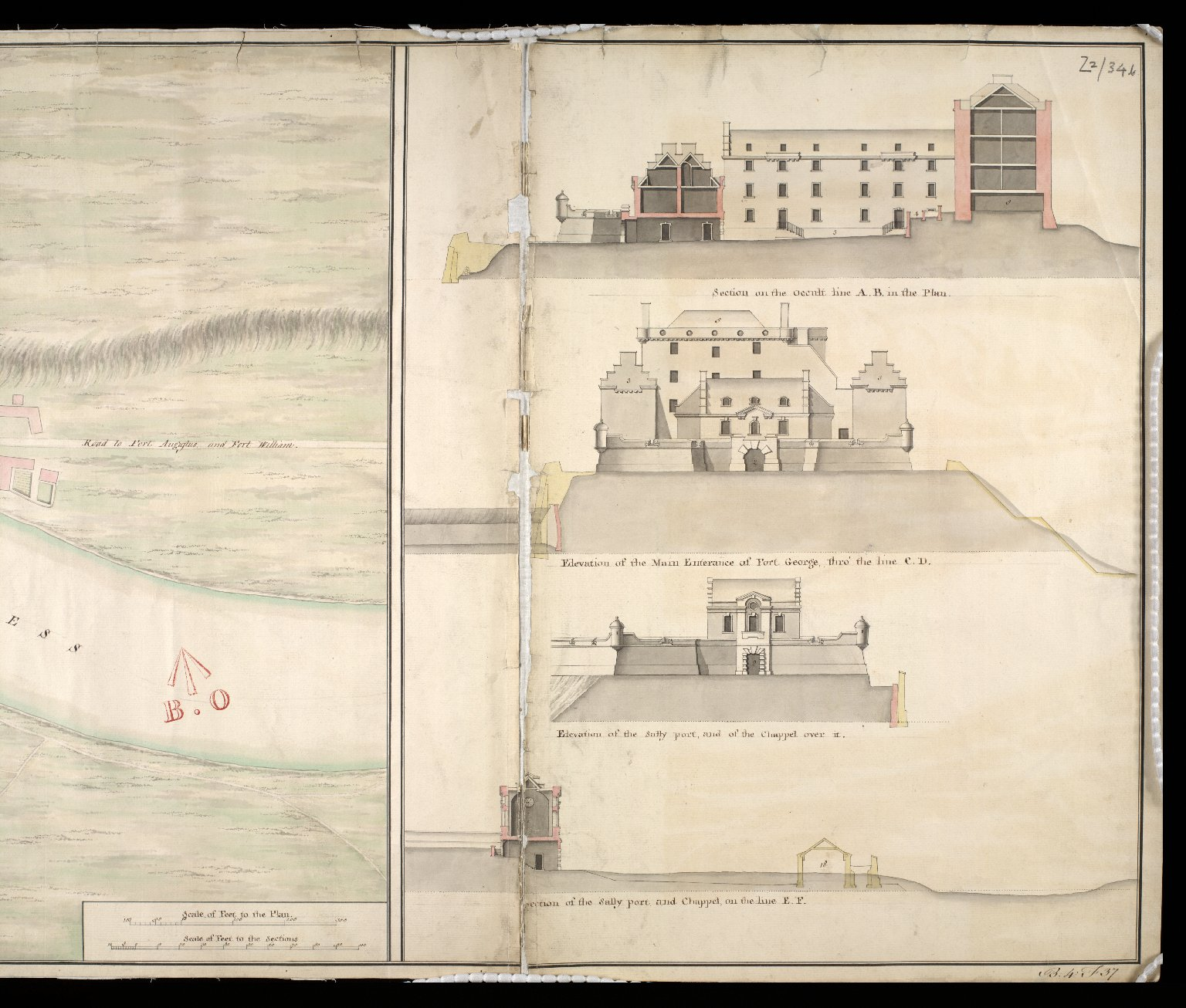 A Plan of Fort George and part of the town of Inverness : with proper sections relating to the fort anno 1732 [copy] [2 of 2]