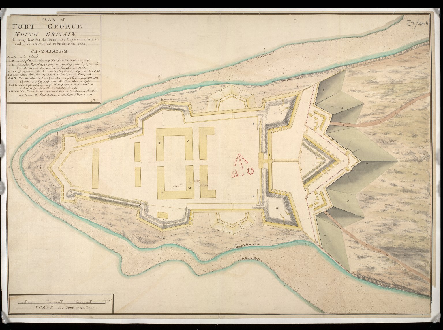 Plan of Fort George North Britain : shewing how far the works are carried on in 1750; and what is proposed to be done in 1751 [copy] [1 of 1]