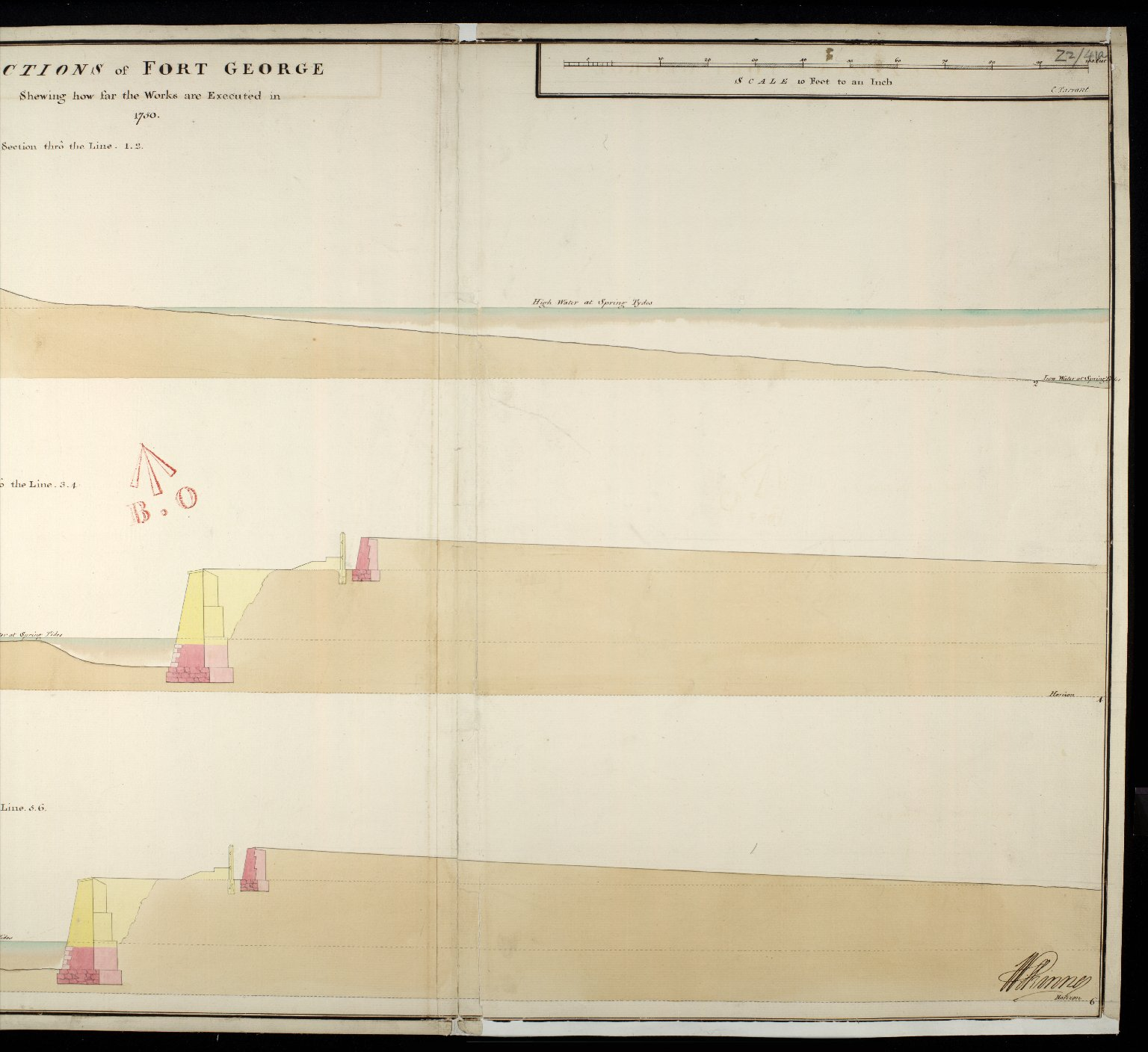 Sections of Fort George shewing how far the works are executed in 1750 : section thro' the line 1.2; section thro' the line 3.4; section thro' the line 5.6 [2 of 2]