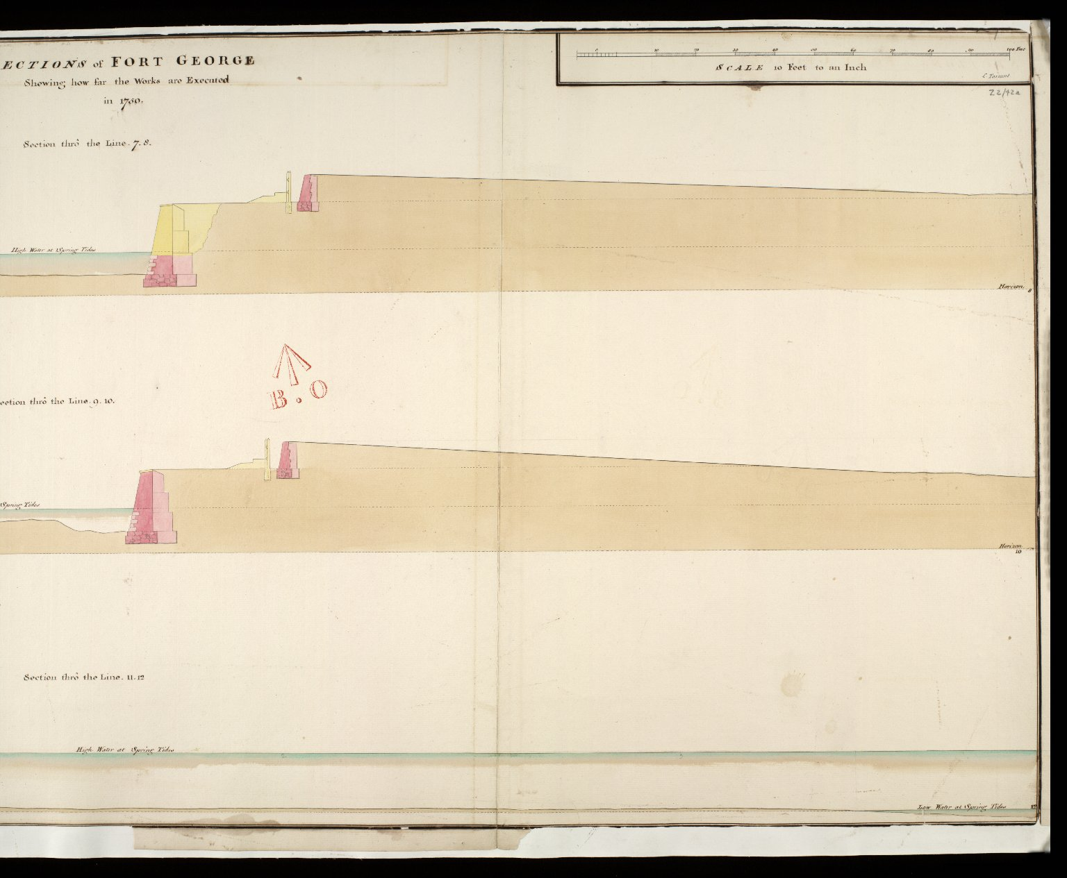 Sections of Fort George shewing how far the works are executed in 1750 : section thro' the line 7.8; section thro' the line 9.10; section thro' the line 11.12 [2 of 2]