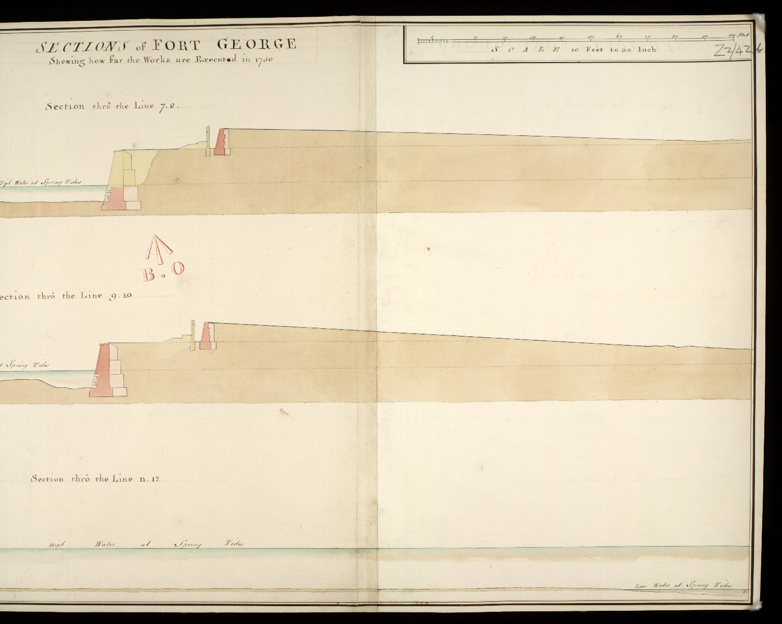 Sections of Fort George shewing how far the works are executed in 1750 : section thro' the line 7.8; section thro' the line 9.10; section thro' the line 11.12 [copy] [2 of 2]