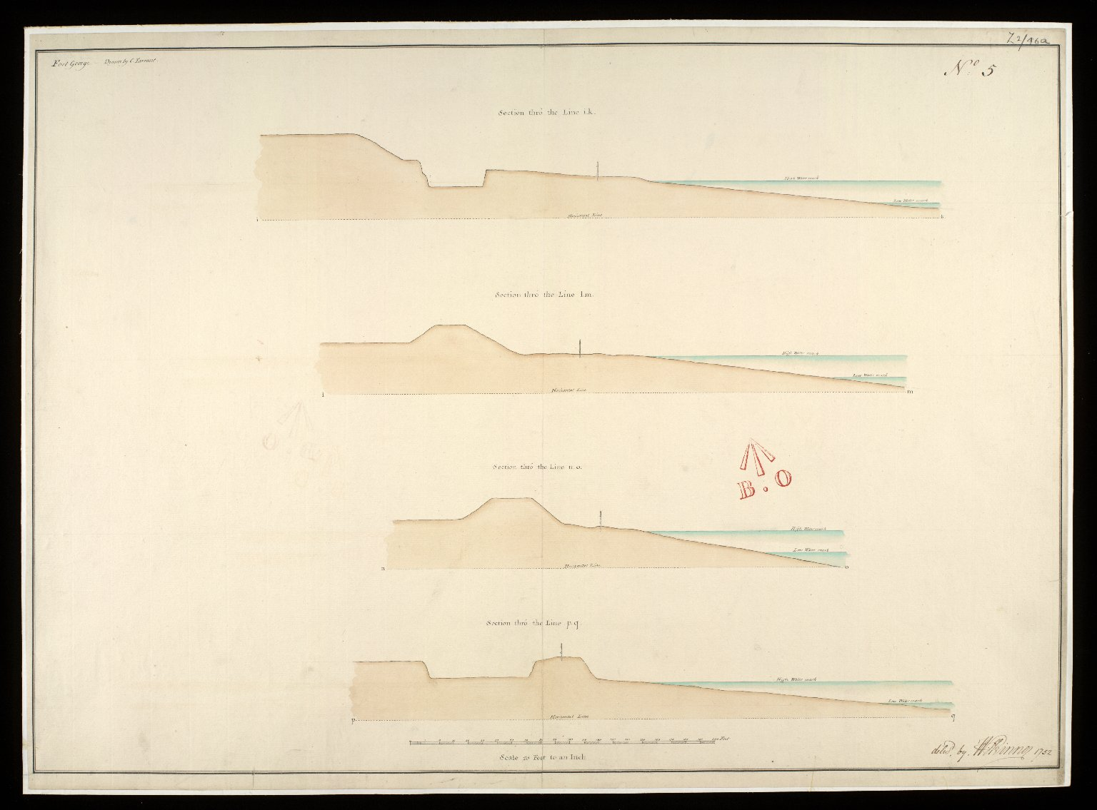 Fort George, [North Britain], 1752, No. 5 : section thro' the line i.k; section thro' the line l.m; section thro' the line n.o; section thro' the line p.q [1 of 1]