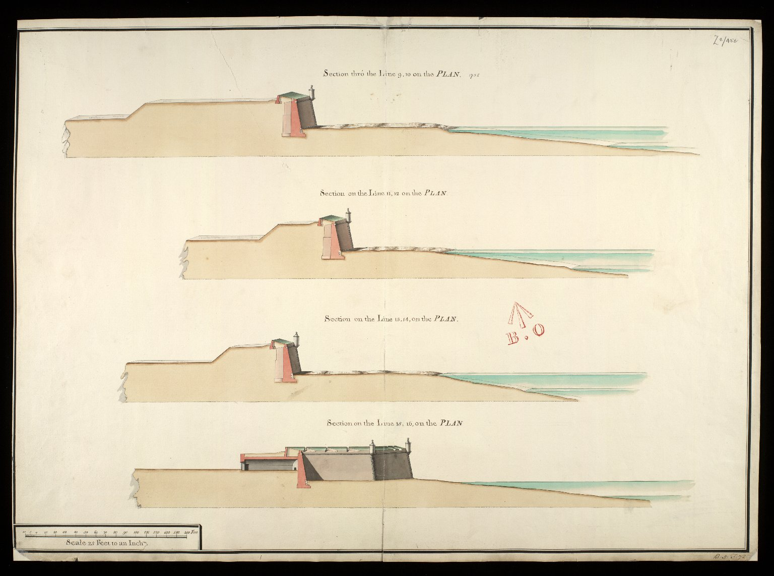 [Fort George, North Britain, 1752] : section thro' line 9.10 on the plan; section thro' line 11.12 on the plan; section thro' line 13.14 on the plan [1 of 1]