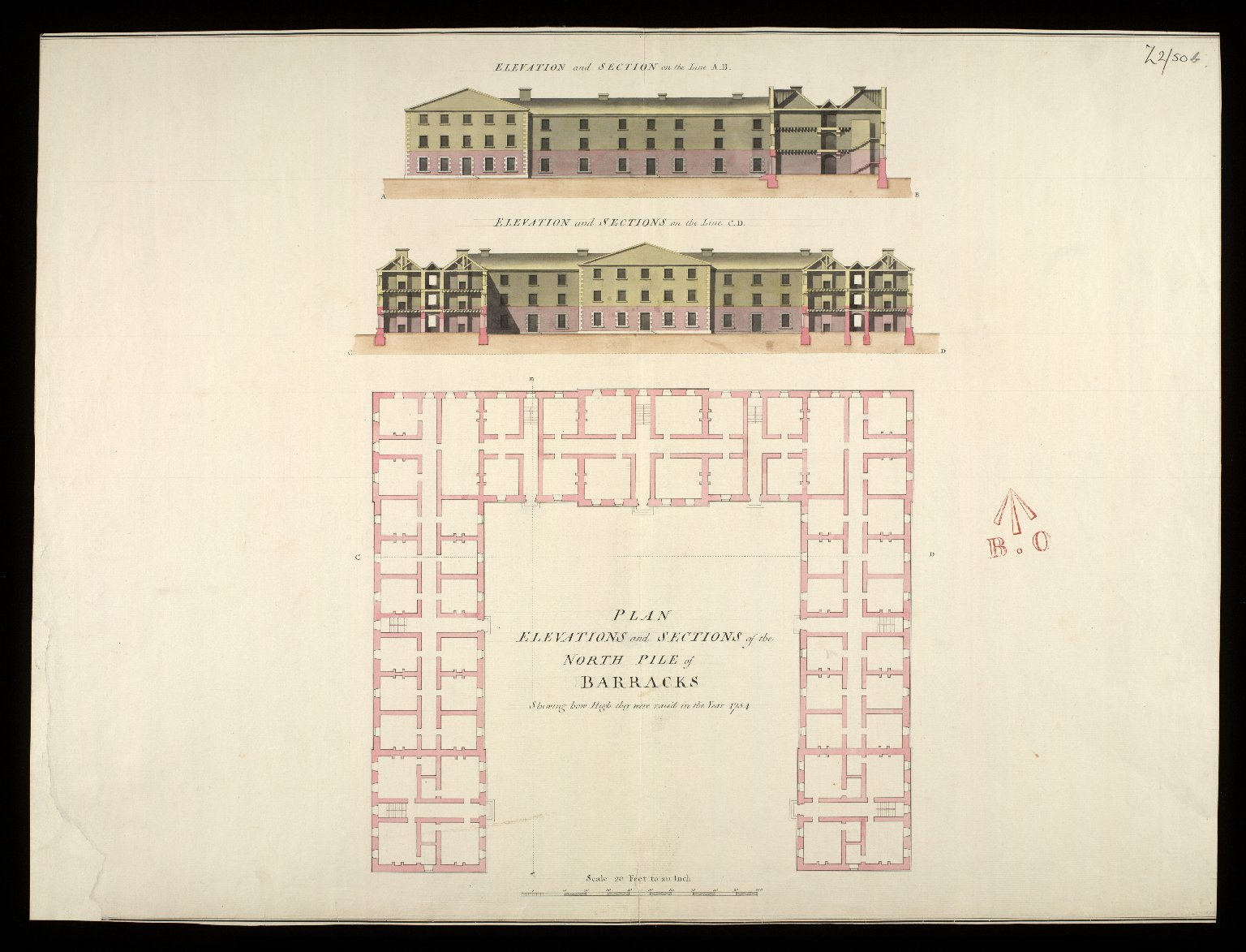 Plan, elevations with sections of the north pile of barracks : shewing how high they were rais'd in the year 1754 [1 of 1]