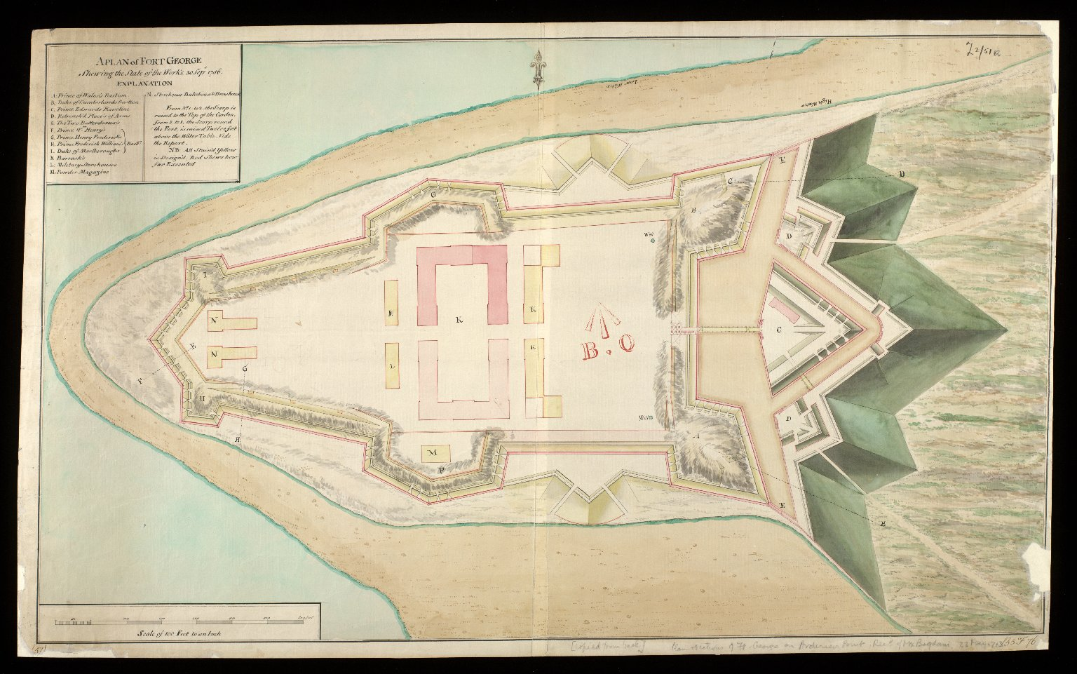 A Plan of Fort George : shewing the state of the work's 30 Sepr. 1756 [1 of 1]