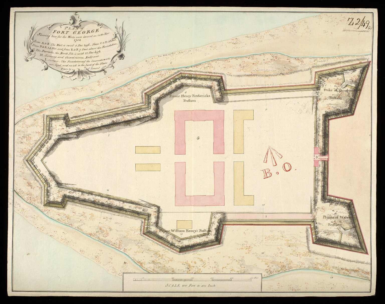 Plan of Fort George : shewing how far the works were carried on in the year 1754 [1 of 1]