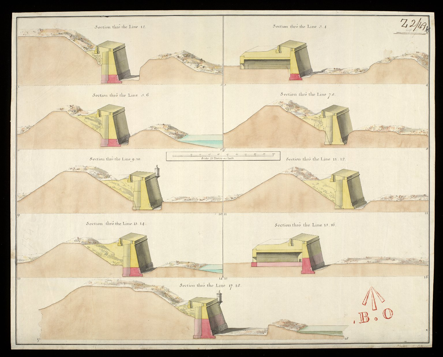 [Plan of Fort George 1754]: section thro' the line 1.2; section thro' the line 3.4; section thro' the line 5.6; section thro' the line 7.8; section thro' the line 9.10; ... [1 of 1]