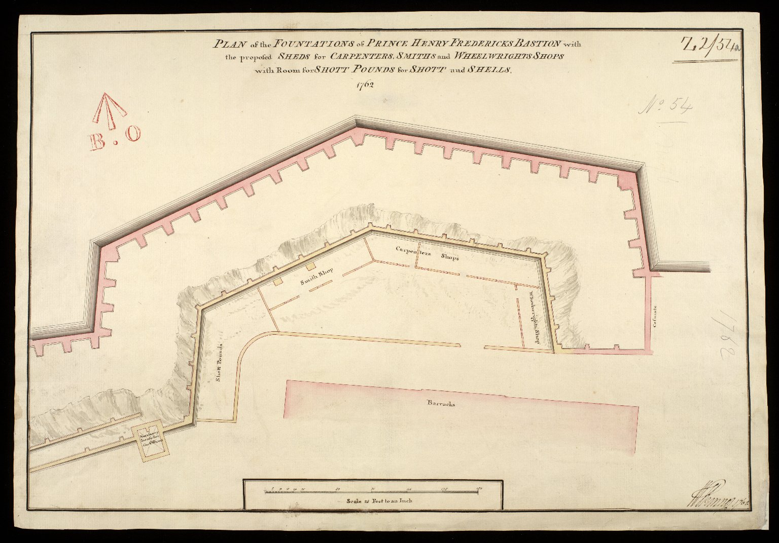 Plan of the fountations of Prince Henry Fredericks Bastion : with the proposed sheds for carpenters, smiths and wheelwrights shops with room for shott pounds for shott and shells 1762 [1 of 1]