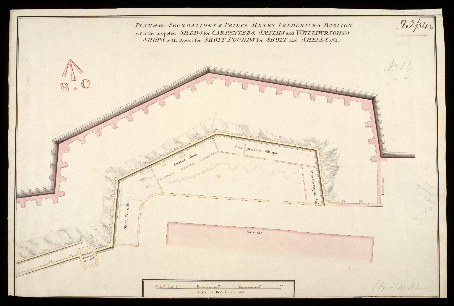 Plan of the foundations of Prince Henry Fredericks Bastion [copy] : with the proposed sheds for carpenters, smiths and wheelwrights shops with room for shott pounds for shott and shells 1762 [1 of 1]