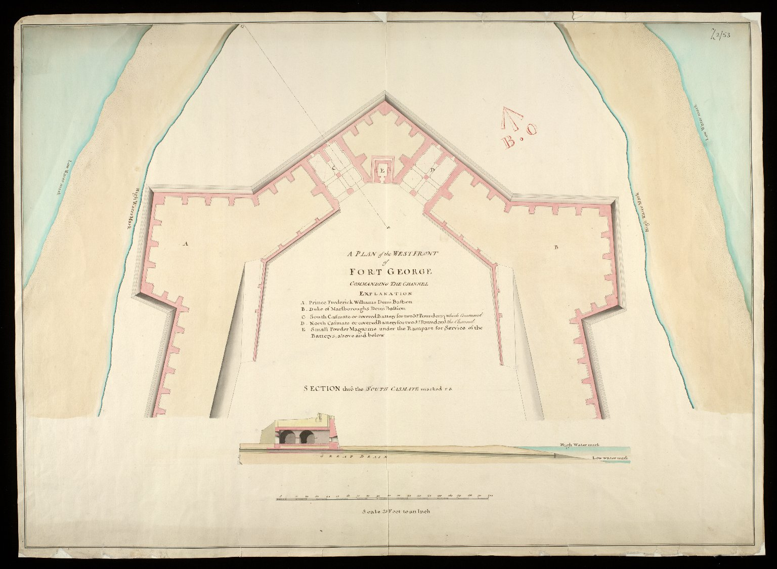 A Plan of the west front of Fort George, commanding the channel : section thro the south casmate marked FG [1 of 1]