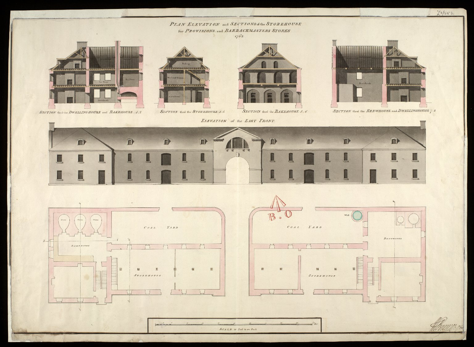 Plan elevation and sections of the store-house for provisions, and barrack-masters stores 1762 [1 of 1]